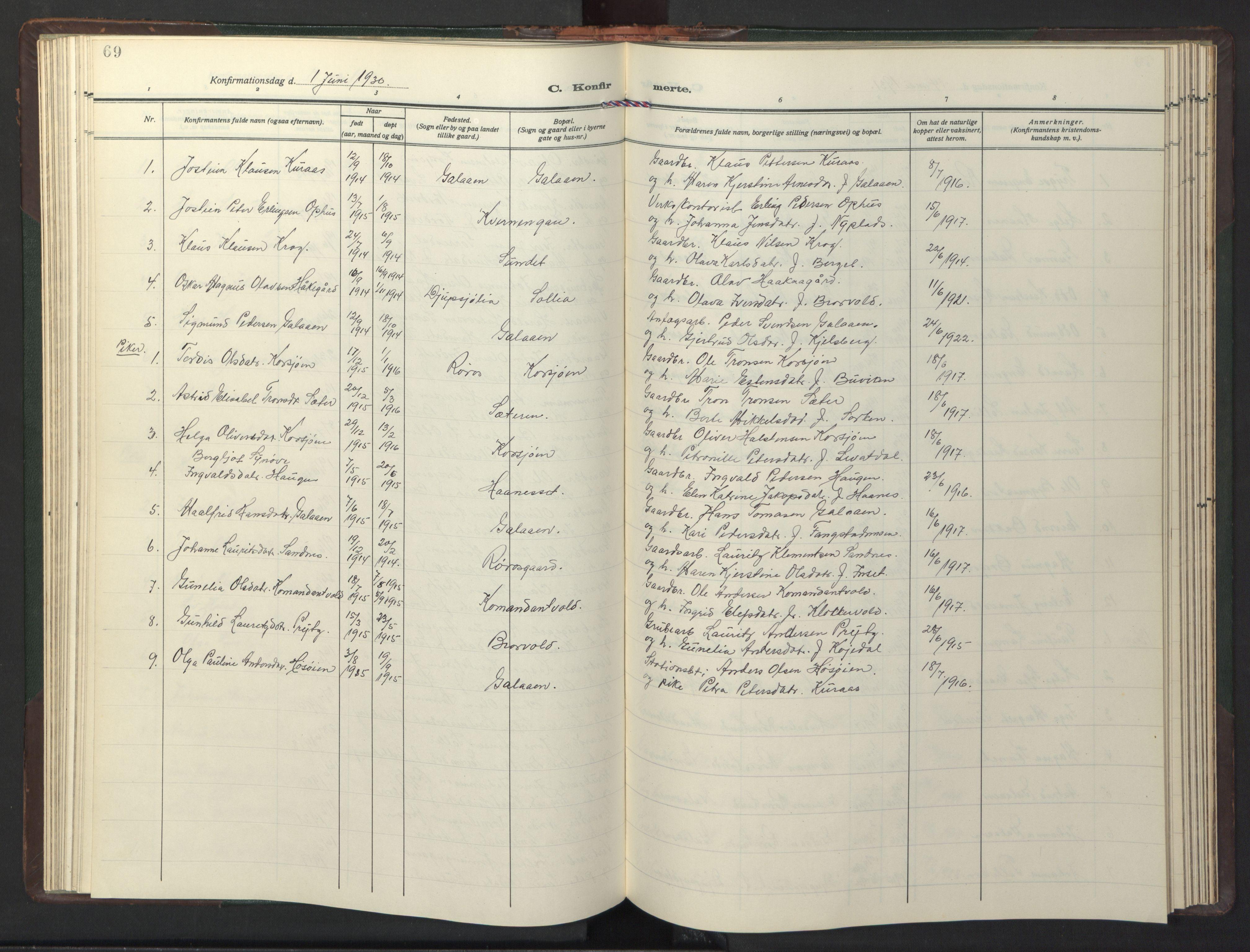 SAT, Ministerialprotokoller, klokkerbøker og fødselsregistre - Sør-Trøndelag, 681/L0944: Klokkerbok nr. 681C08, 1926-1954, s. 69