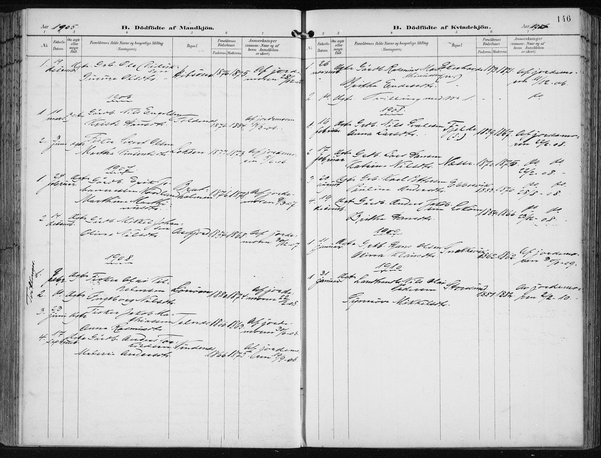 SAB, Fjell sokneprestembete, H/Haa: Ministerialbok nr. A  9, 1899-1910, s. 146