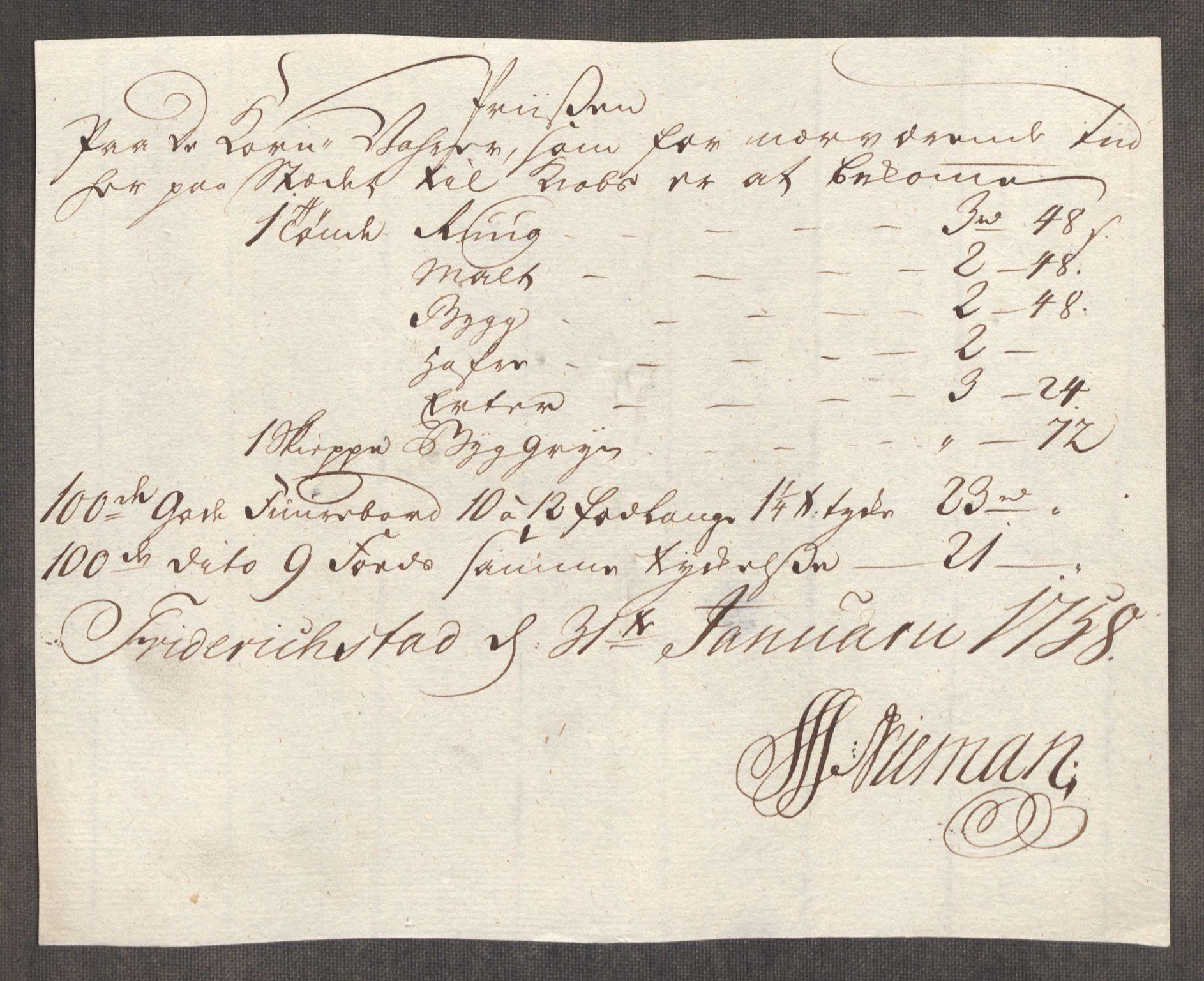 RA, Rentekammeret inntil 1814, Realistisk ordnet avdeling, Oe/L0006: [Ø1]: Priskuranter, 1758-1760, s. 35