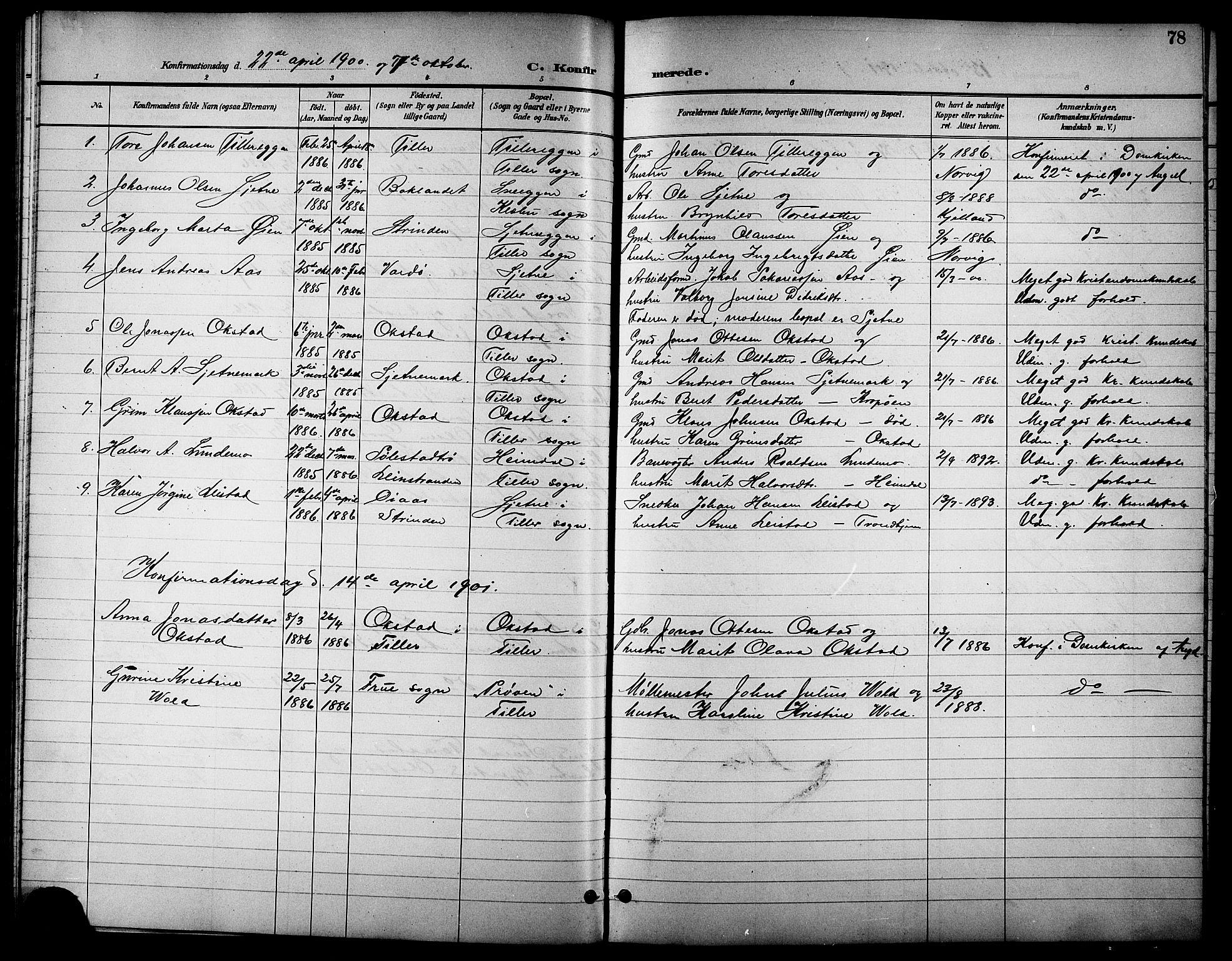 SAT, Ministerialprotokoller, klokkerbøker og fødselsregistre - Sør-Trøndelag, 621/L0460: Klokkerbok nr. 621C03, 1896-1914, s. 78