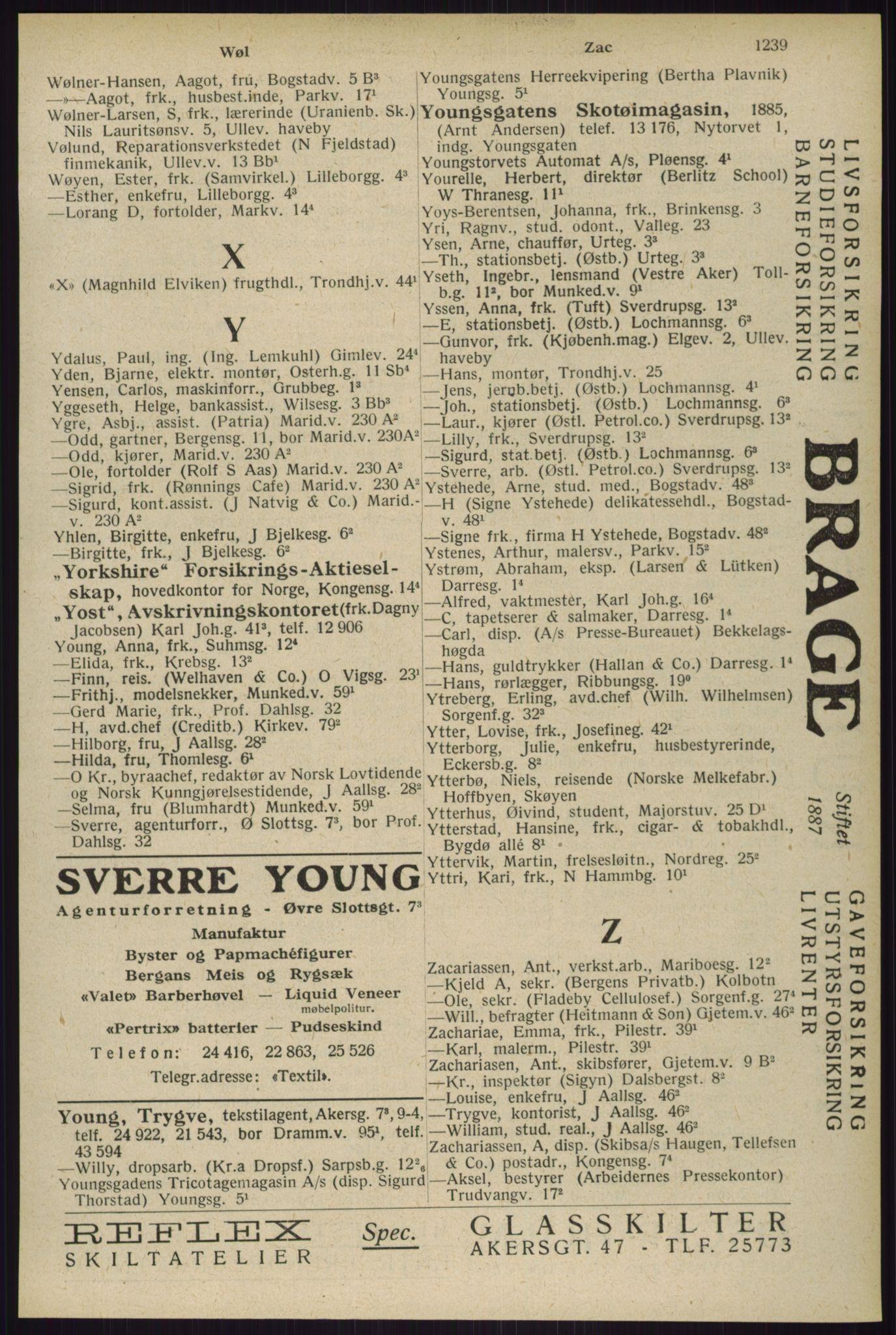 RA, Oslo adressebok (publikasjon)*, 1929, s. 1239