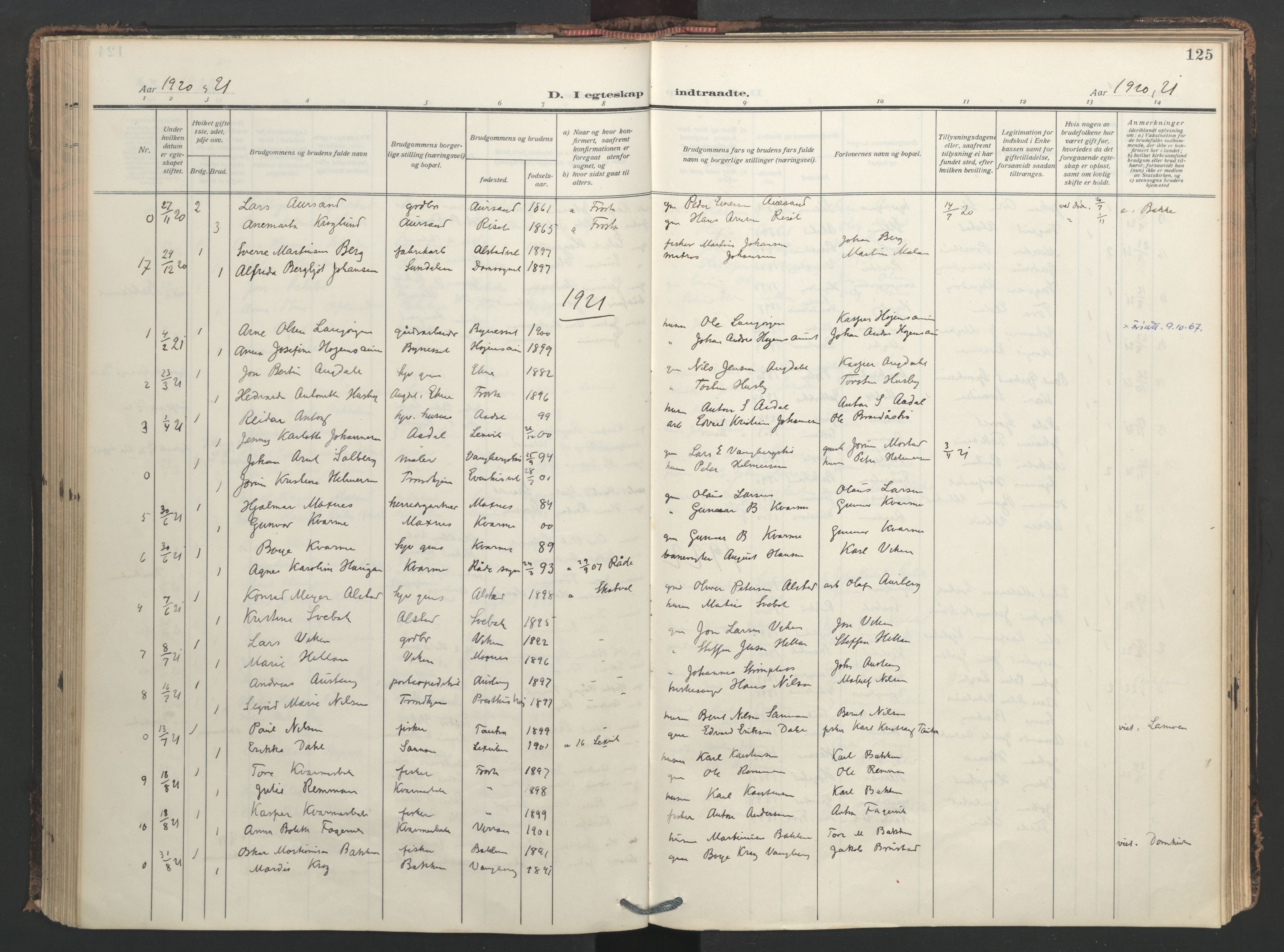 SAT, Ministerialprotokoller, klokkerbøker og fødselsregistre - Nord-Trøndelag, 713/L0123: Ministerialbok nr. 713A12, 1911-1925, s. 125