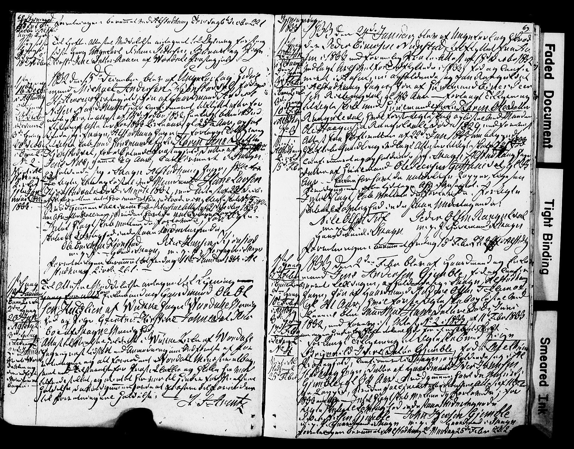 SAT, Ministerialprotokoller, klokkerbøker og fødselsregistre - Nord-Trøndelag, 717/L0160: Forlovererklæringer nr. 717A10, 1828-1850, s. 68-69