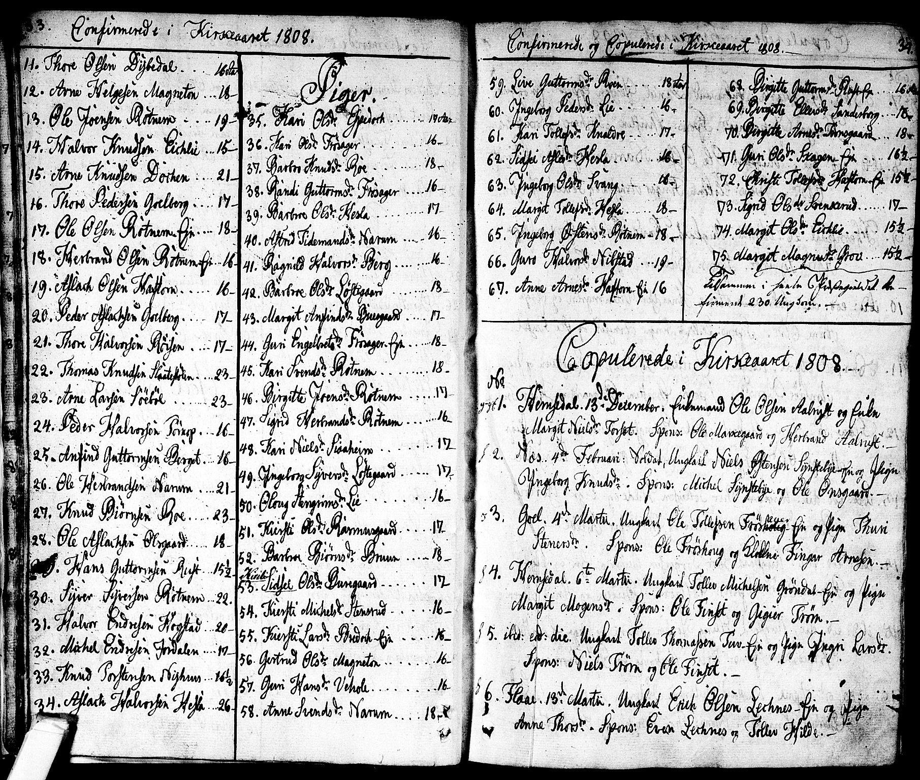 SAKO, Nes kirkebøker, F/Fa/L0006: Ministerialbok nr. 6, 1808-1814, s. 33-34