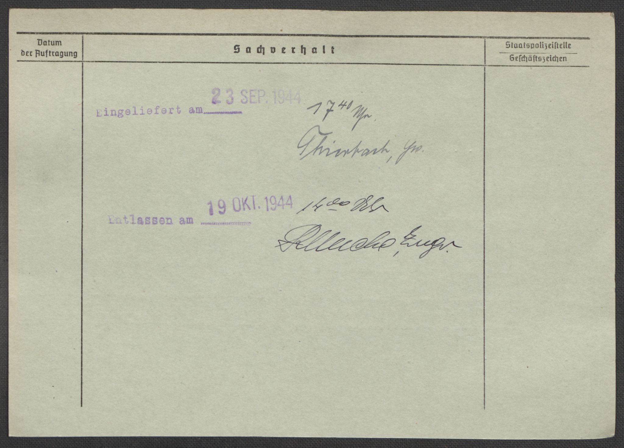 RA, Befehlshaber der Sicherheitspolizei und des SD, E/Ea/Eaa/L0007: Register over norske fanger i Møllergata 19: Lundb-N, 1940-1945, s. 845