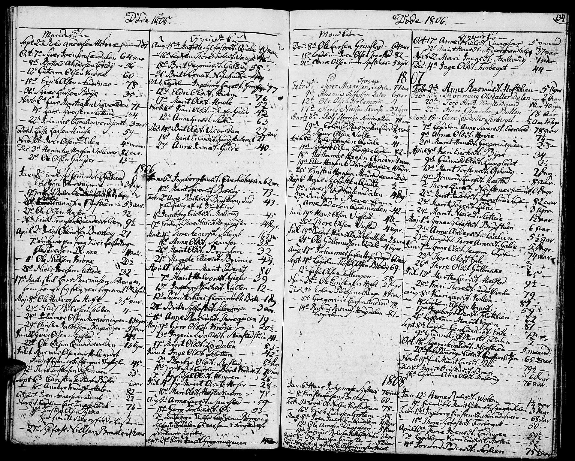 SAH, Lom prestekontor, K/L0003: Ministerialbok nr. 3, 1801-1825, s. 134