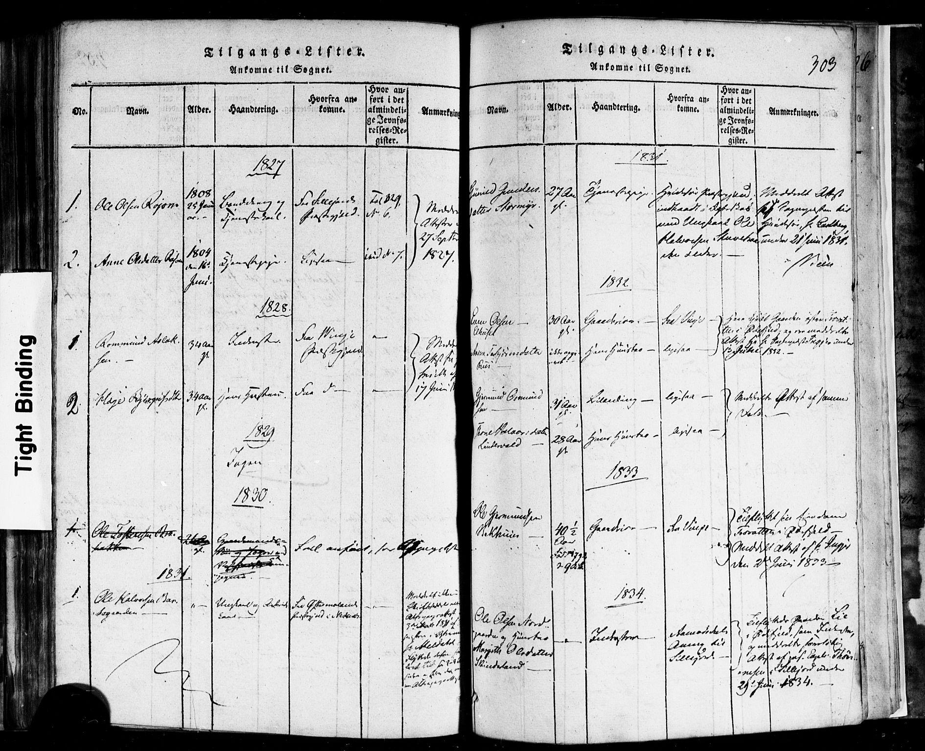 SAKO, Rauland kirkebøker, F/Fa/L0002: Ministerialbok nr. 2, 1815-1860, s. 303