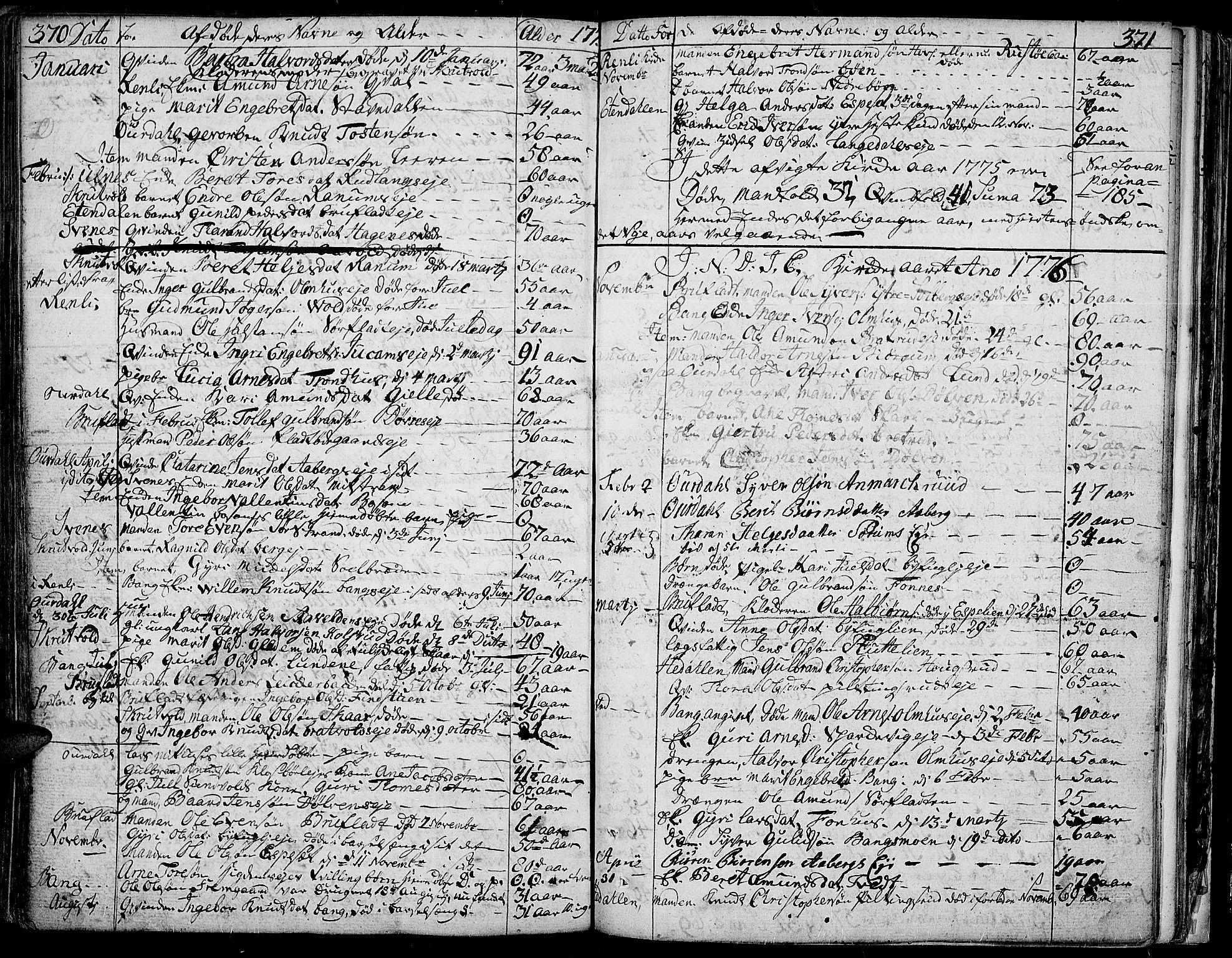 SAH, Aurdal prestekontor, Ministerialbok nr. 5, 1763-1781, s. 370-371