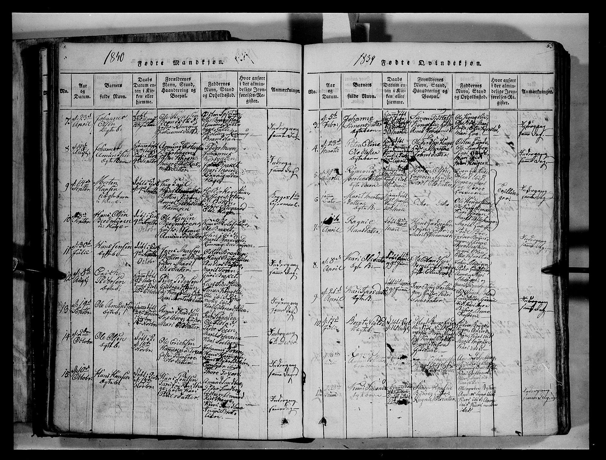 SAH, Fron prestekontor, H/Ha/Hab/L0004: Klokkerbok nr. 4, 1816-1850, s. 63