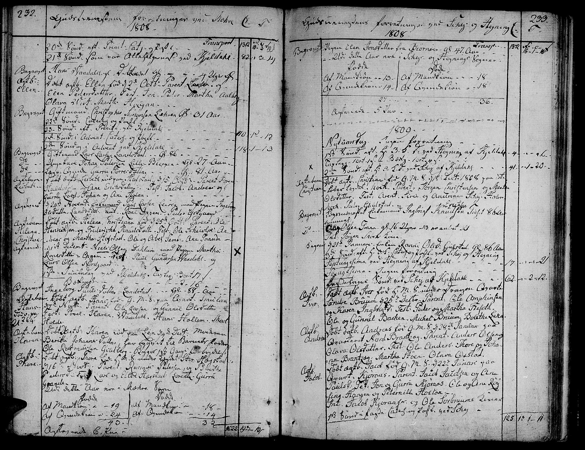 SAT, Ministerialprotokoller, klokkerbøker og fødselsregistre - Nord-Trøndelag, 735/L0332: Ministerialbok nr. 735A03, 1795-1816, s. 232-233
