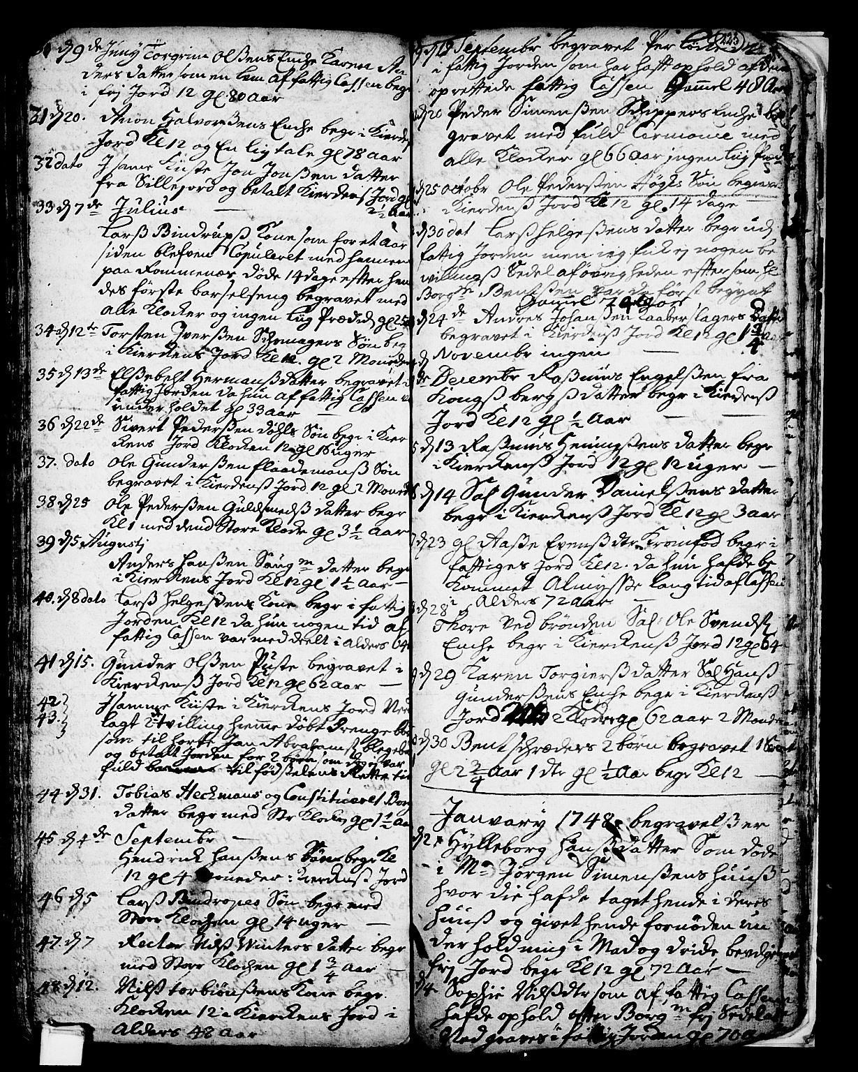 SAKO, Skien kirkebøker, F/Fa/L0002: Ministerialbok nr. 2, 1716-1757, s. 223