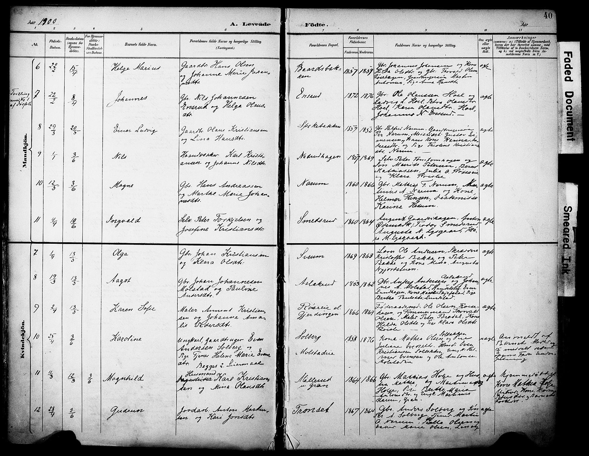 SAH, Vestre Toten prestekontor, H/Ha/Haa/L0013: Ministerialbok nr. 13, 1895-1911, s. 40