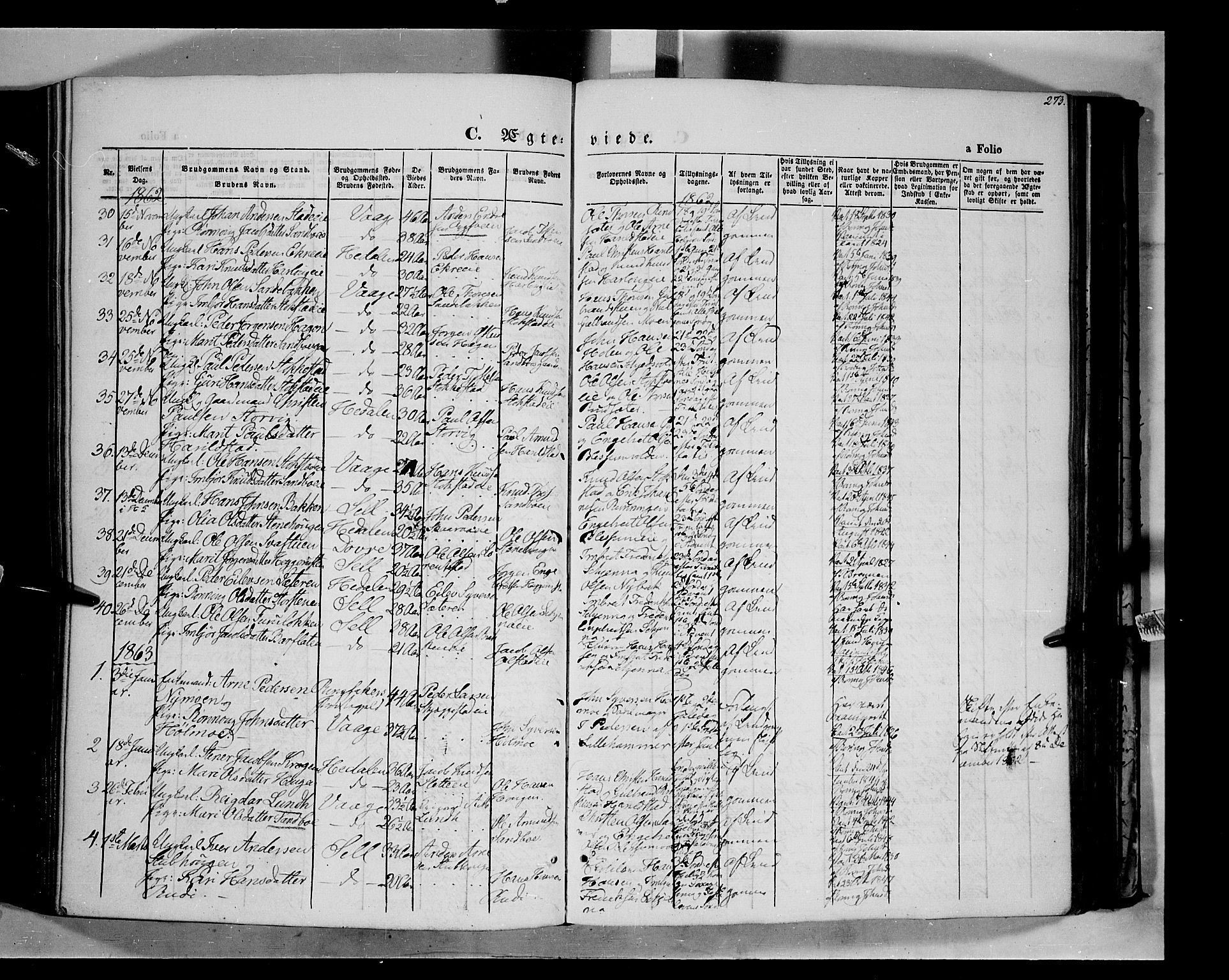 SAH, Vågå prestekontor, Ministerialbok nr. 6 /1, 1856-1872, s. 273