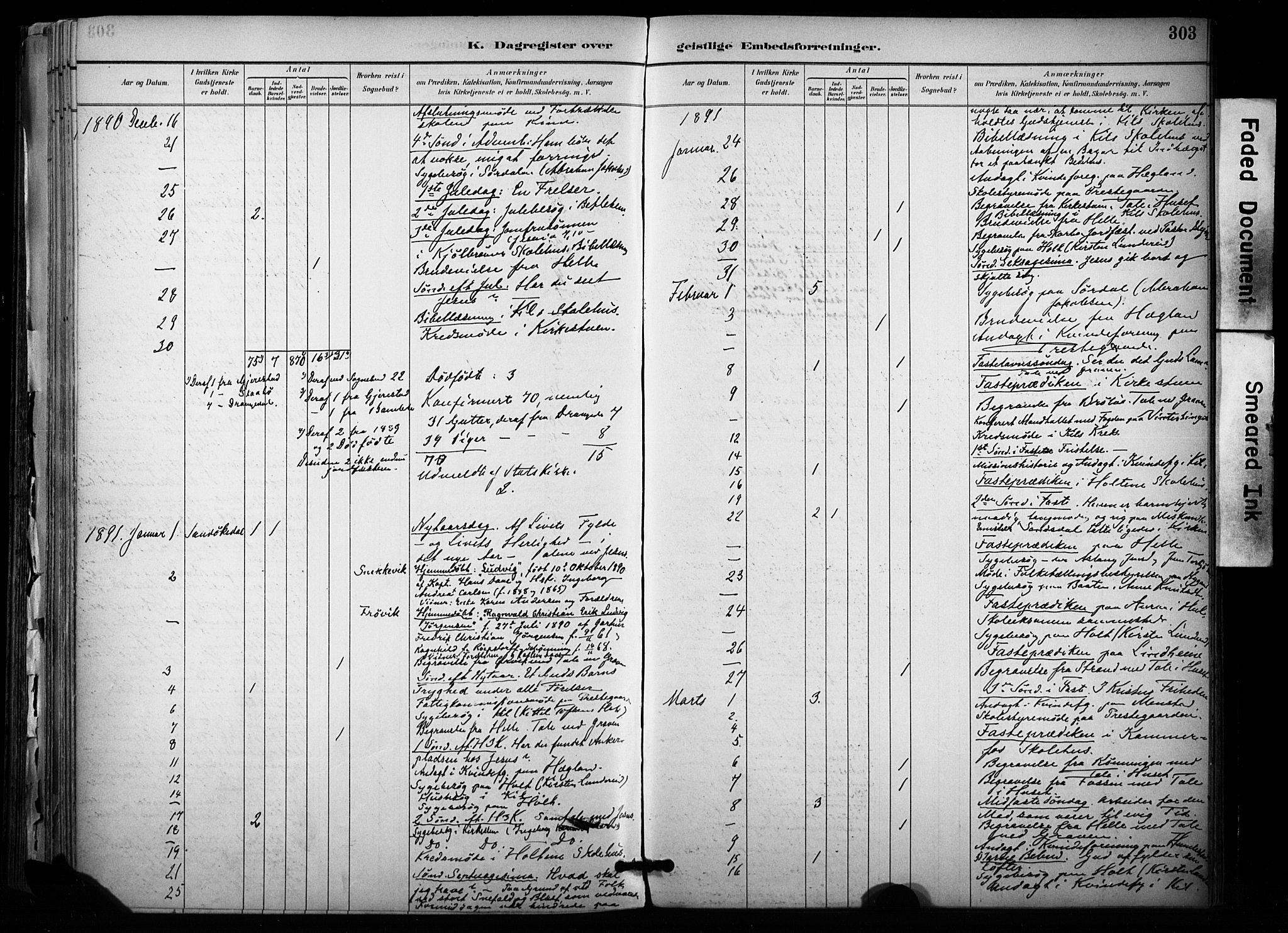 SAKO, Sannidal kirkebøker, F/Fa/L0015: Ministerialbok nr. 15, 1884-1899, s. 303