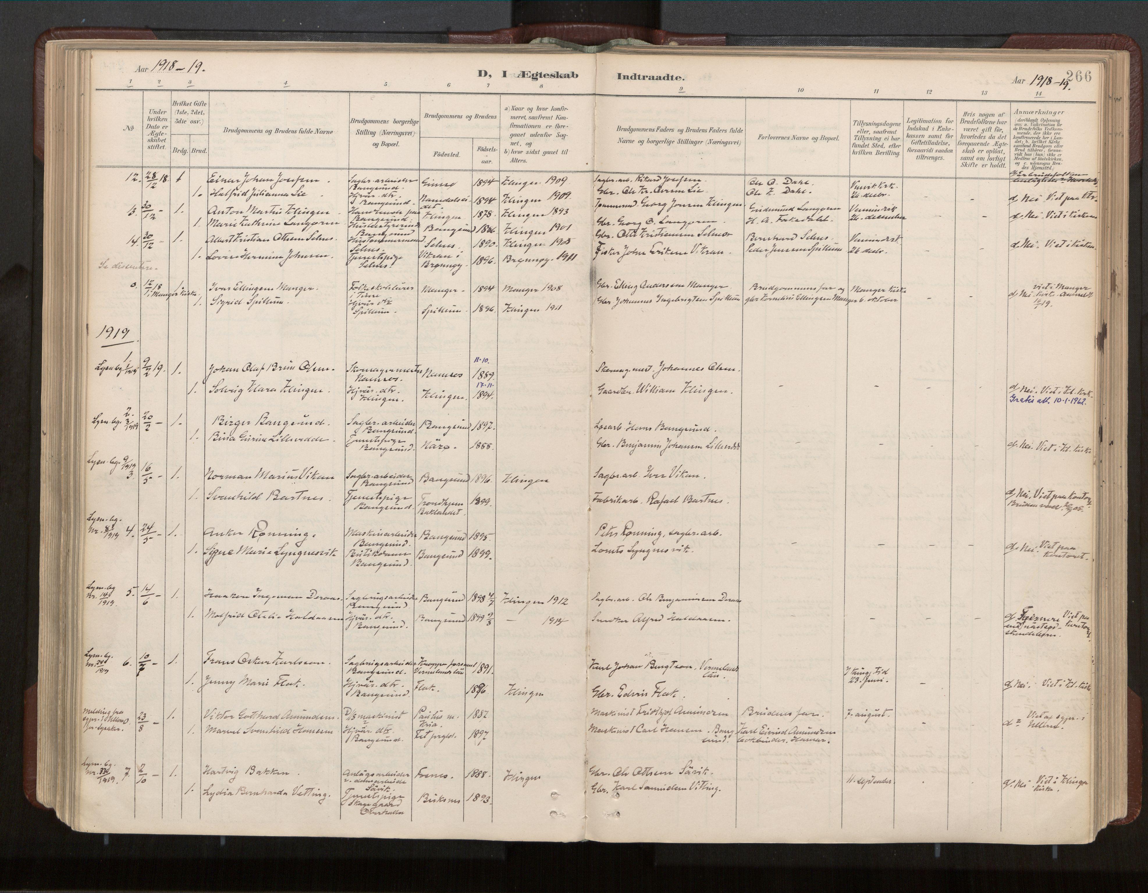SAT, Ministerialprotokoller, klokkerbøker og fødselsregistre - Nord-Trøndelag, 770/L0589: Ministerialbok nr. 770A03, 1887-1929, s. 266