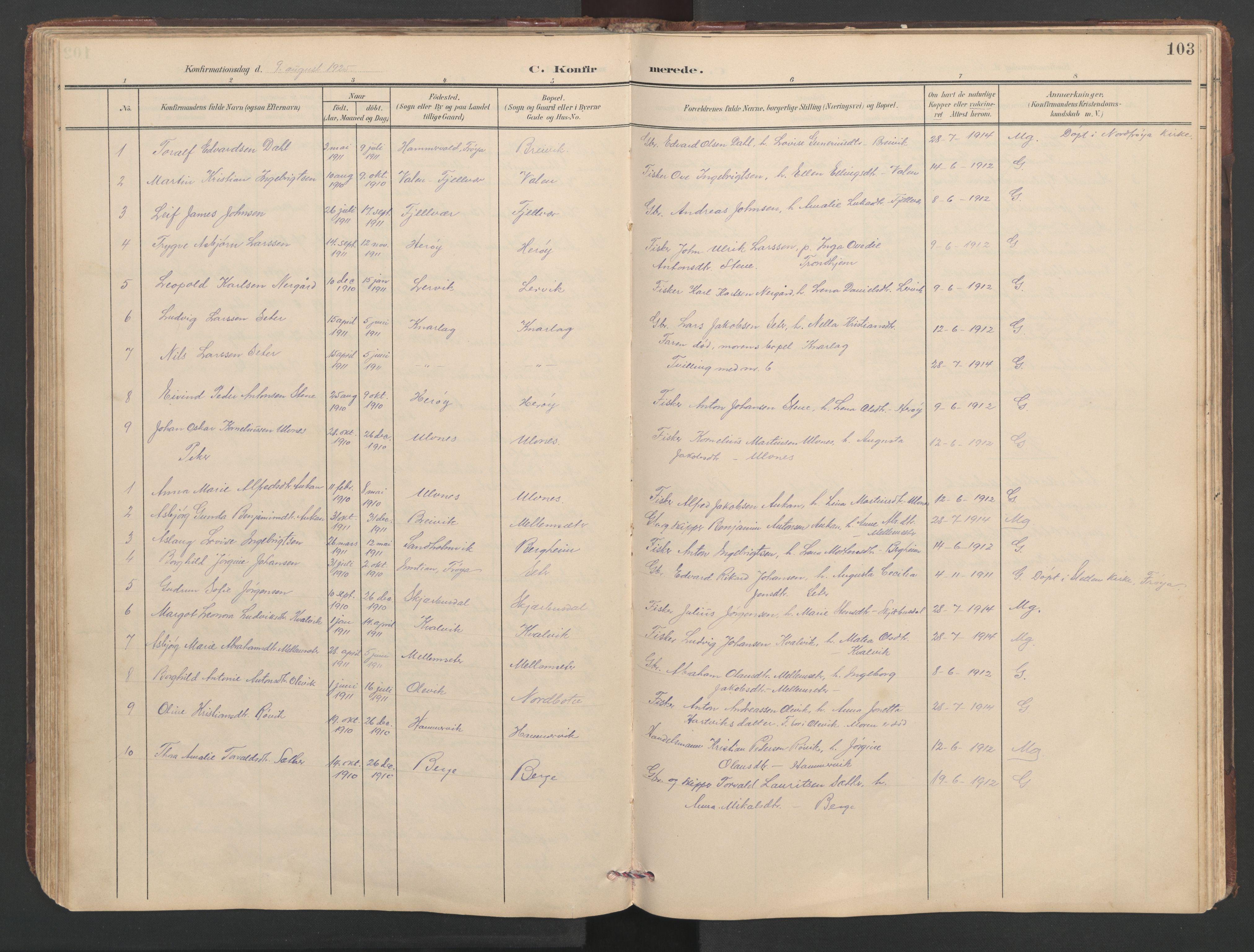 SAT, Ministerialprotokoller, klokkerbøker og fødselsregistre - Sør-Trøndelag, 638/L0571: Klokkerbok nr. 638C03, 1901-1930, s. 103
