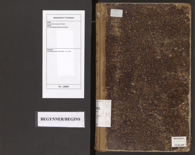SAT, Norges Brannkasse Hadsel, Fa/L0005: Branntakstprotokoll, 1890-1894