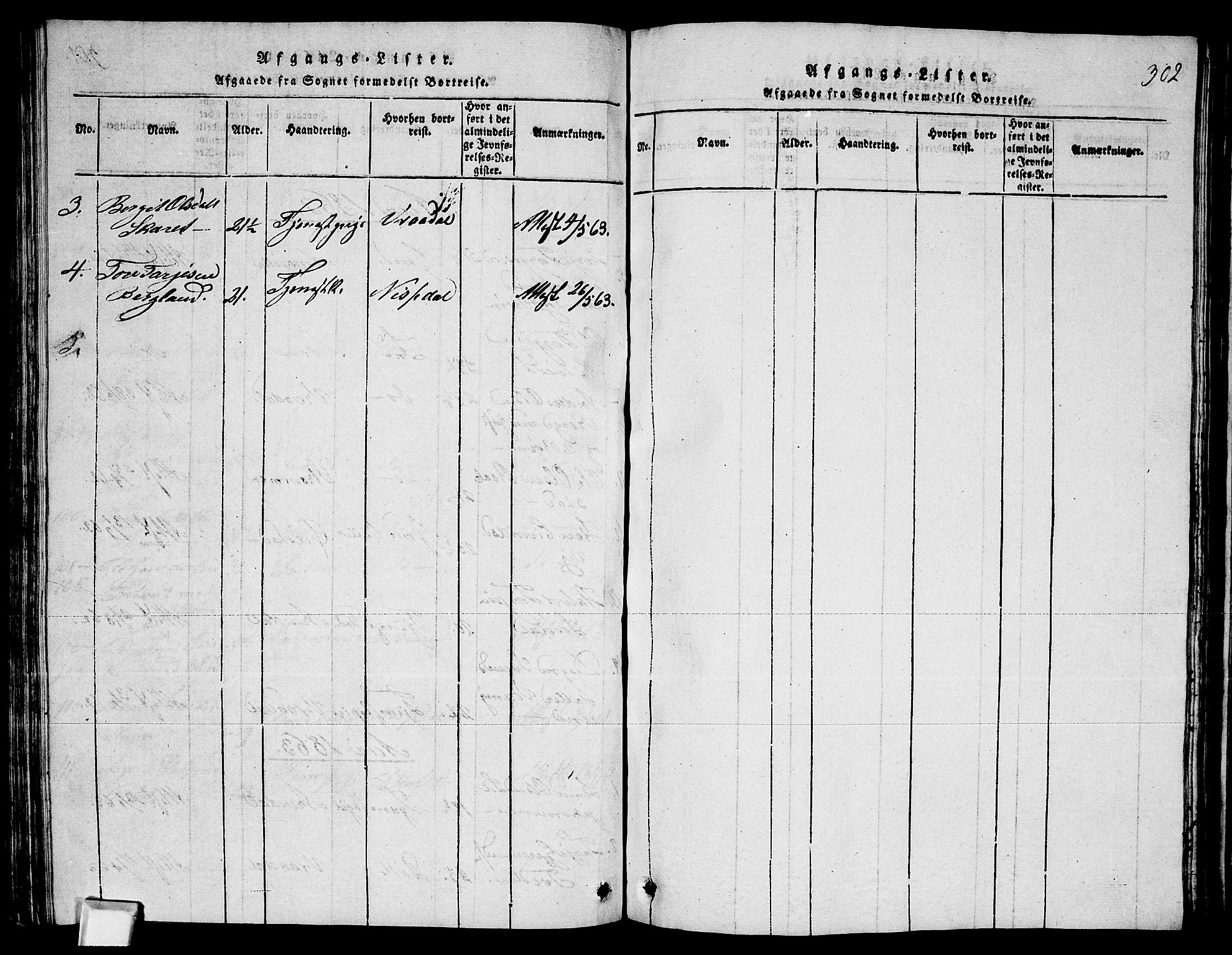 SAKO, Fyresdal kirkebøker, G/Ga/L0003: Klokkerbok nr. I 3, 1815-1863, s. 302