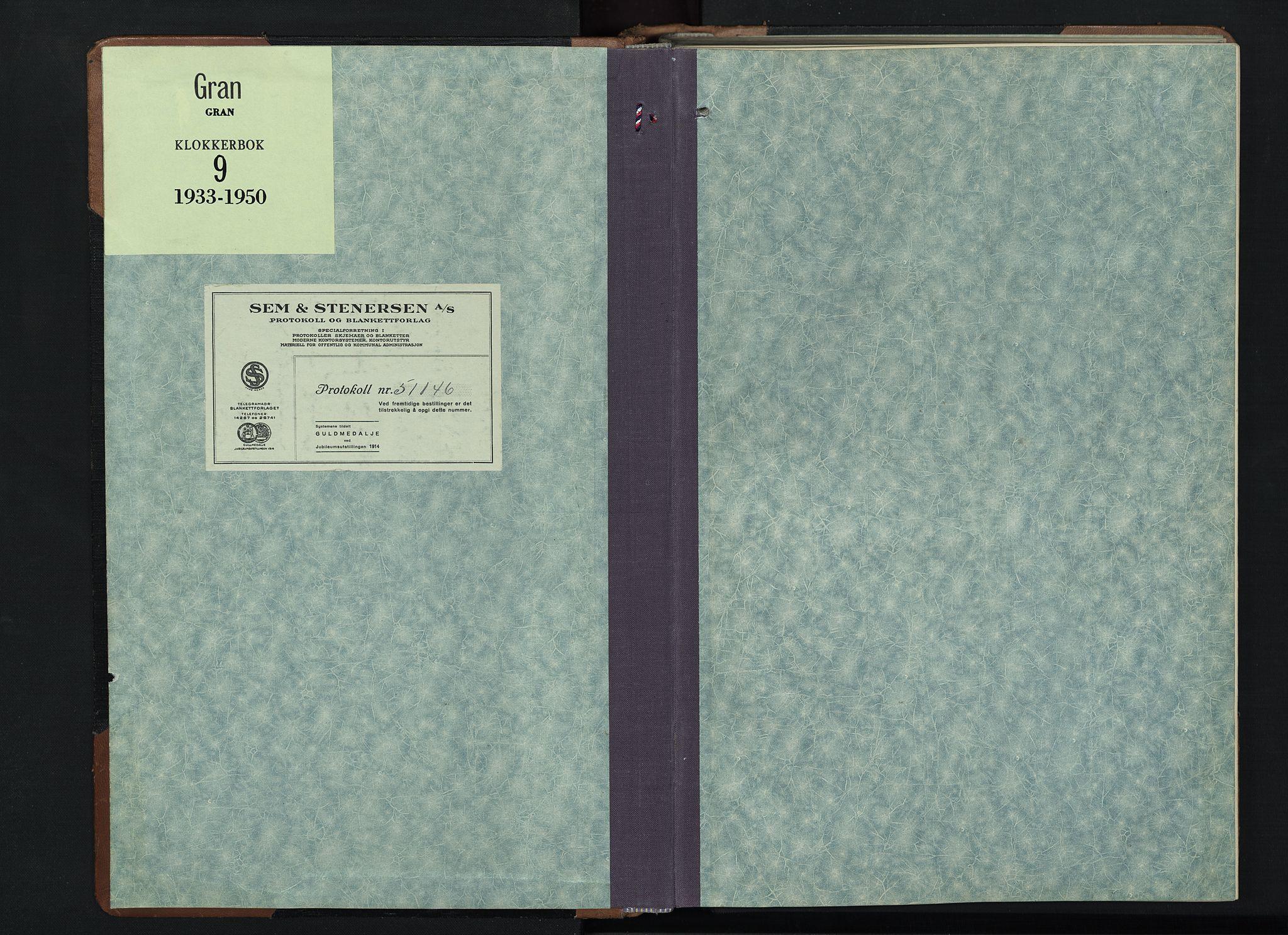 SAH, Gran prestekontor, Klokkerbok nr. 9, 1933-1950