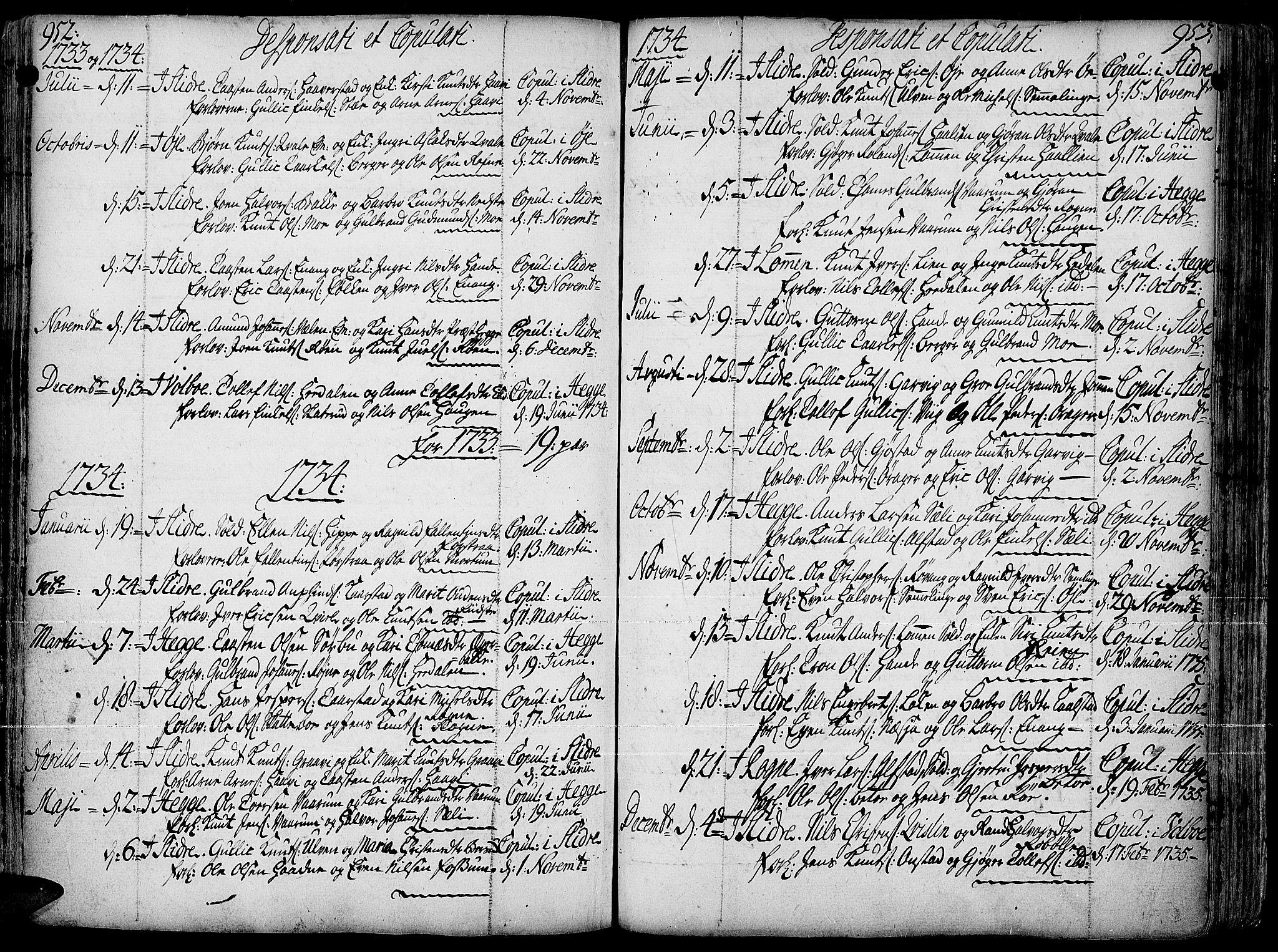 SAH, Slidre prestekontor, Ministerialbok nr. 1, 1724-1814, s. 952-953