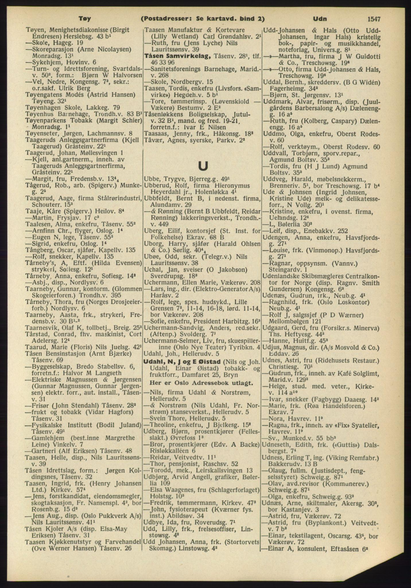 RA, Oslo adressebok (publikasjon)*, 1960-1961, s. 1547