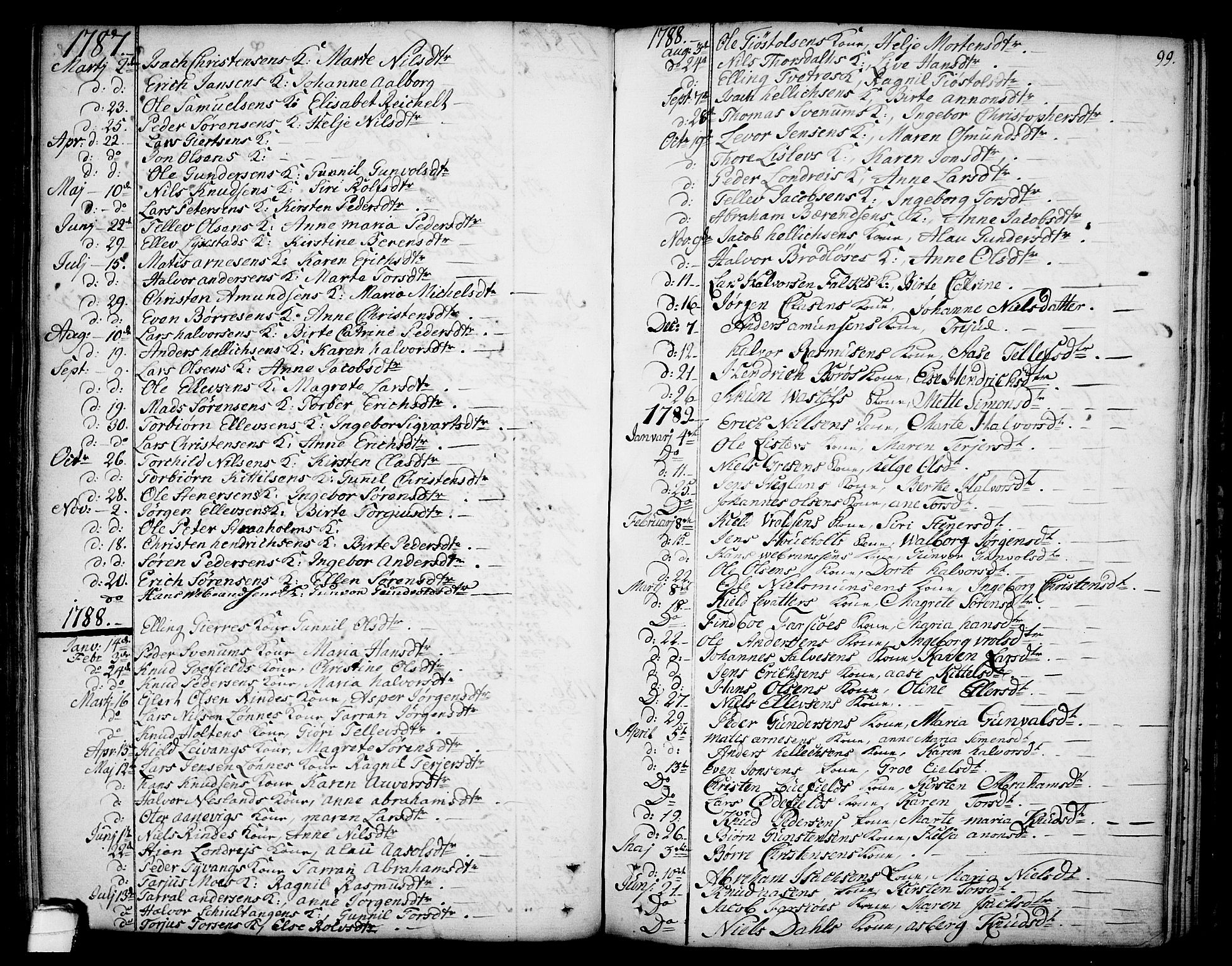 SAKO, Sannidal kirkebøker, F/Fa/L0002: Ministerialbok nr. 2, 1767-1802, s. 99