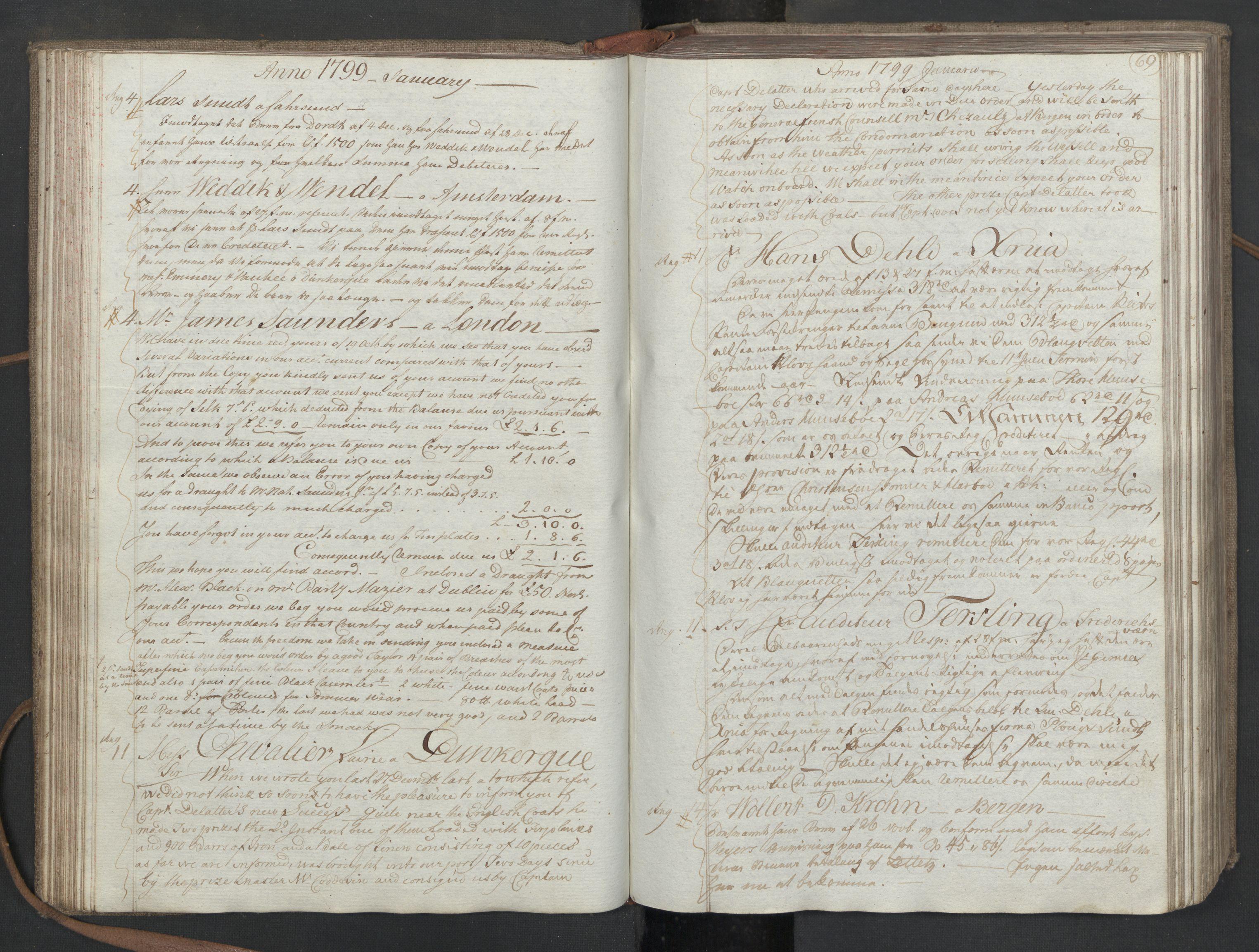 SAST, Pa 0003 - Ploug & Sundt, handelshuset, B/L0008: Kopibok, 1797-1804, s. 68b-69a