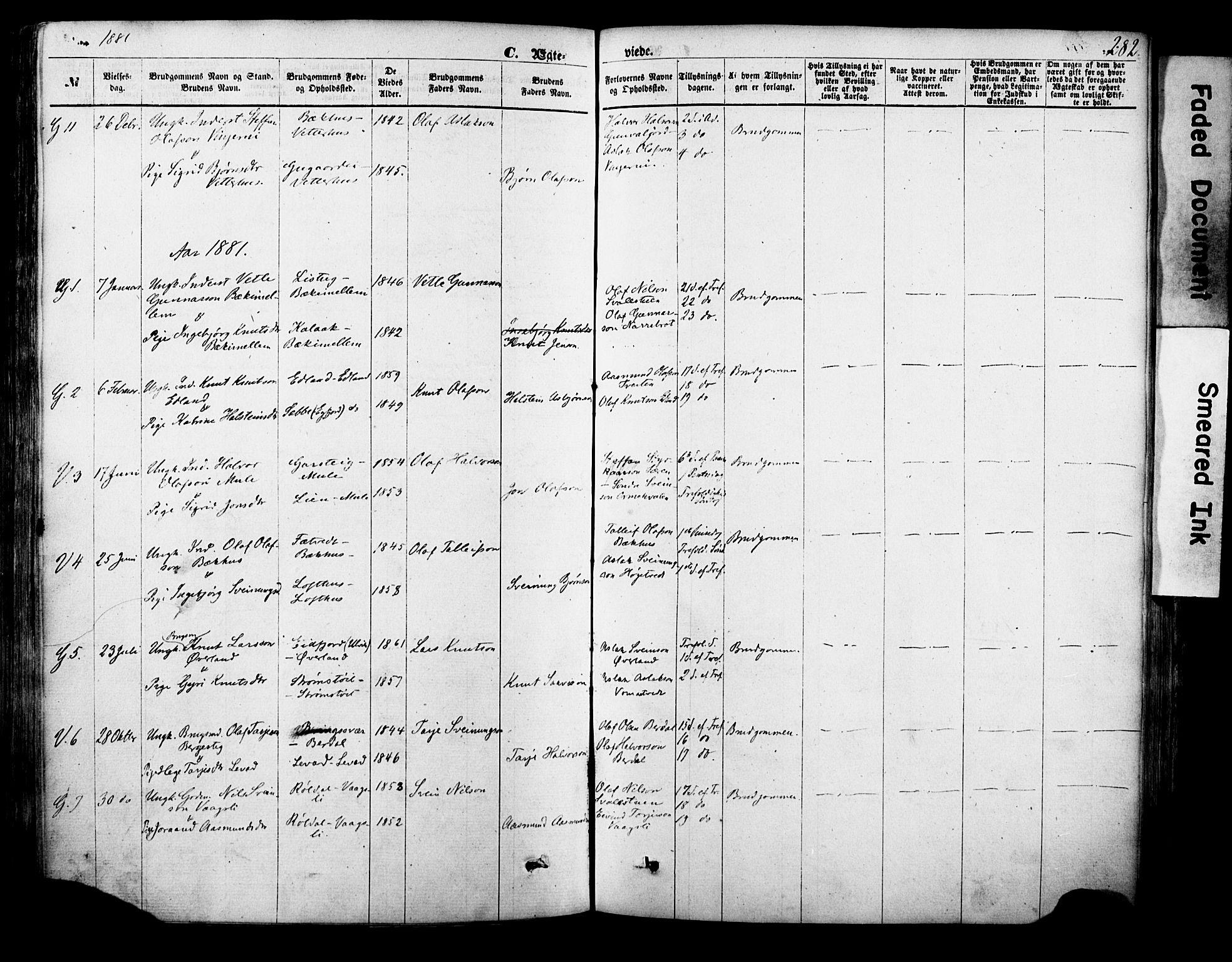 SAKO, Vinje kirkebøker, F/Fa/L0005: Ministerialbok nr. I 5, 1870-1886, s. 282