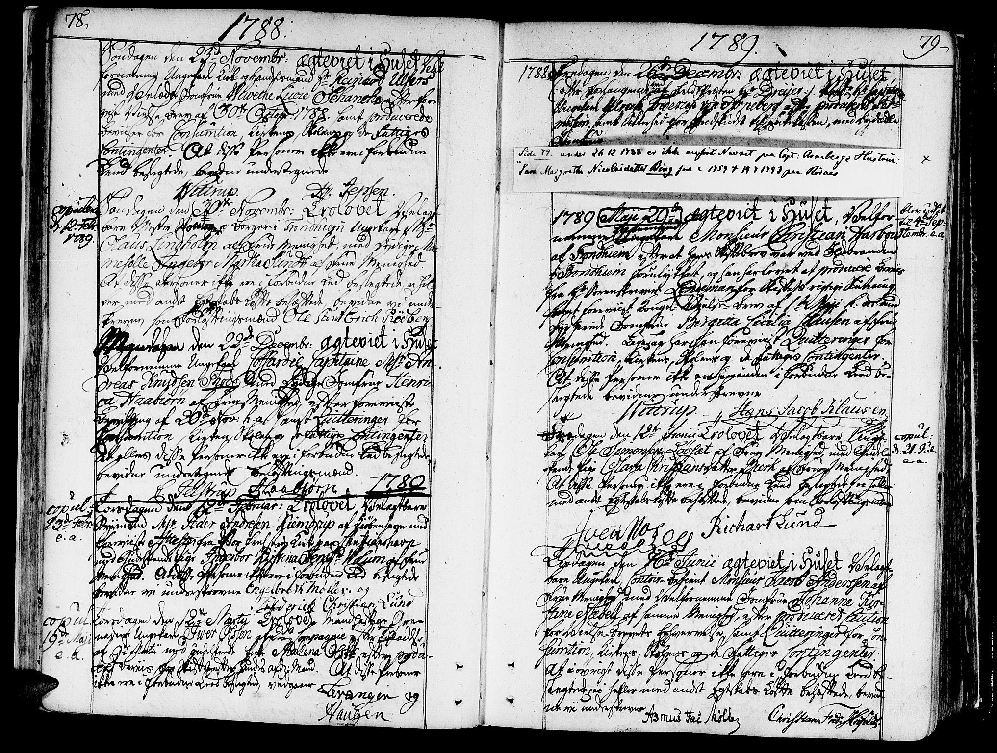 SAT, Ministerialprotokoller, klokkerbøker og fødselsregistre - Sør-Trøndelag, 602/L0105: Ministerialbok nr. 602A03, 1774-1814, s. 78-79
