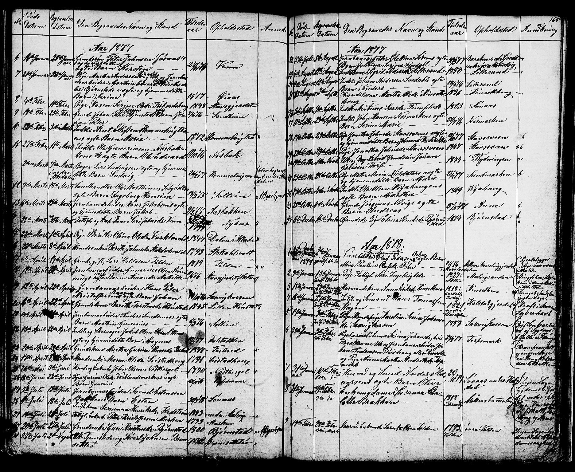 SAT, Ministerialprotokoller, klokkerbøker og fødselsregistre - Sør-Trøndelag, 616/L0422: Klokkerbok nr. 616C05, 1850-1888, s. 165