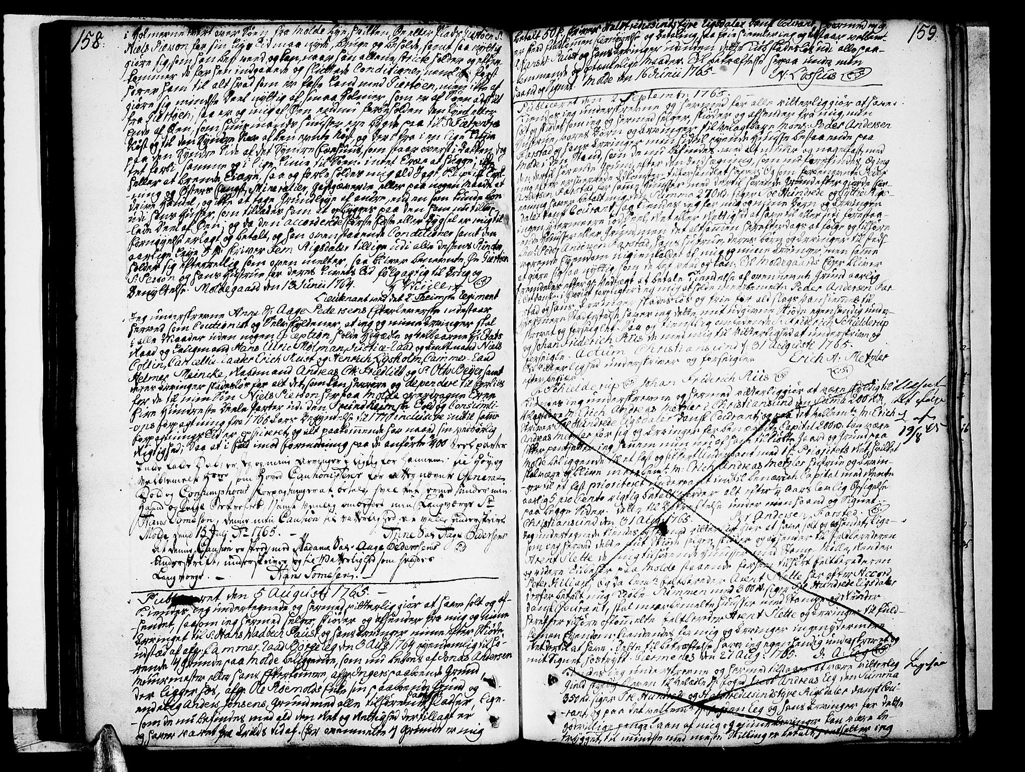 SAT, Molde byfogd, 2/2C/L0001: Pantebok nr. 1, 1748-1823, s. 158-159
