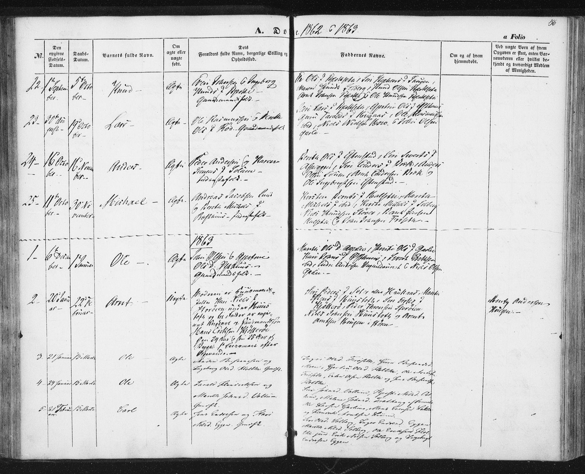 SAT, Ministerialprotokoller, klokkerbøker og fødselsregistre - Sør-Trøndelag, 689/L1038: Ministerialbok nr. 689A03, 1848-1872, s. 56