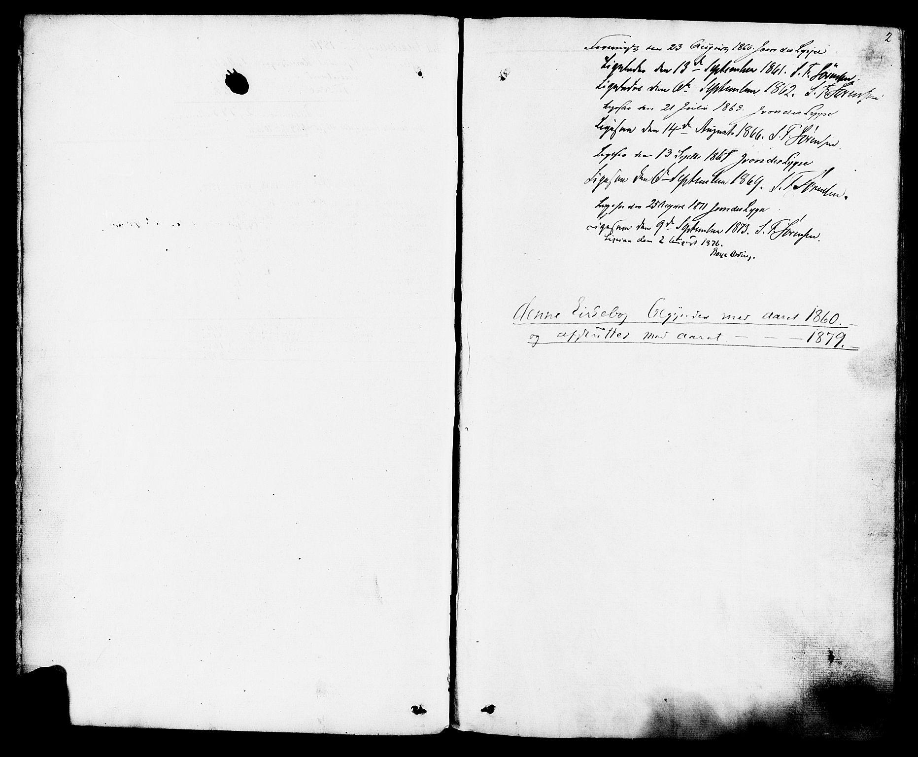 SAKO, Hjartdal kirkebøker, F/Fa/L0009: Ministerialbok nr. I 9, 1860-1879, s. 2