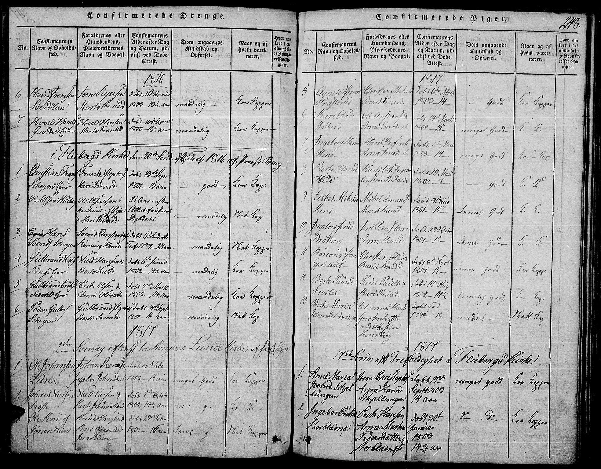 SAH, Land prestekontor, Ministerialbok nr. 7, 1814-1830, s. 248