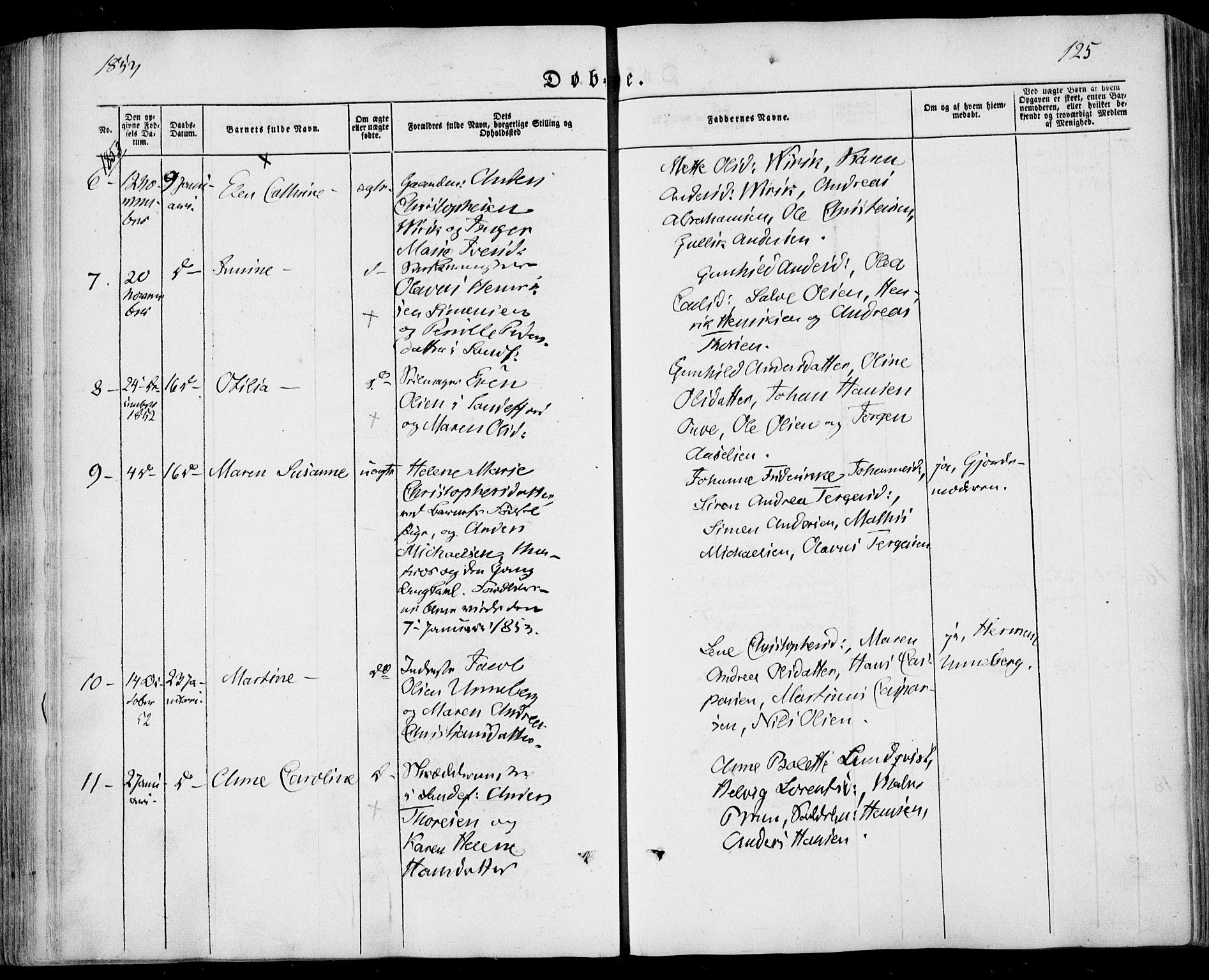 SAKO, Sandar kirkebøker, F/Fa/L0006: Ministerialbok nr. 6, 1847-1860, s. 125