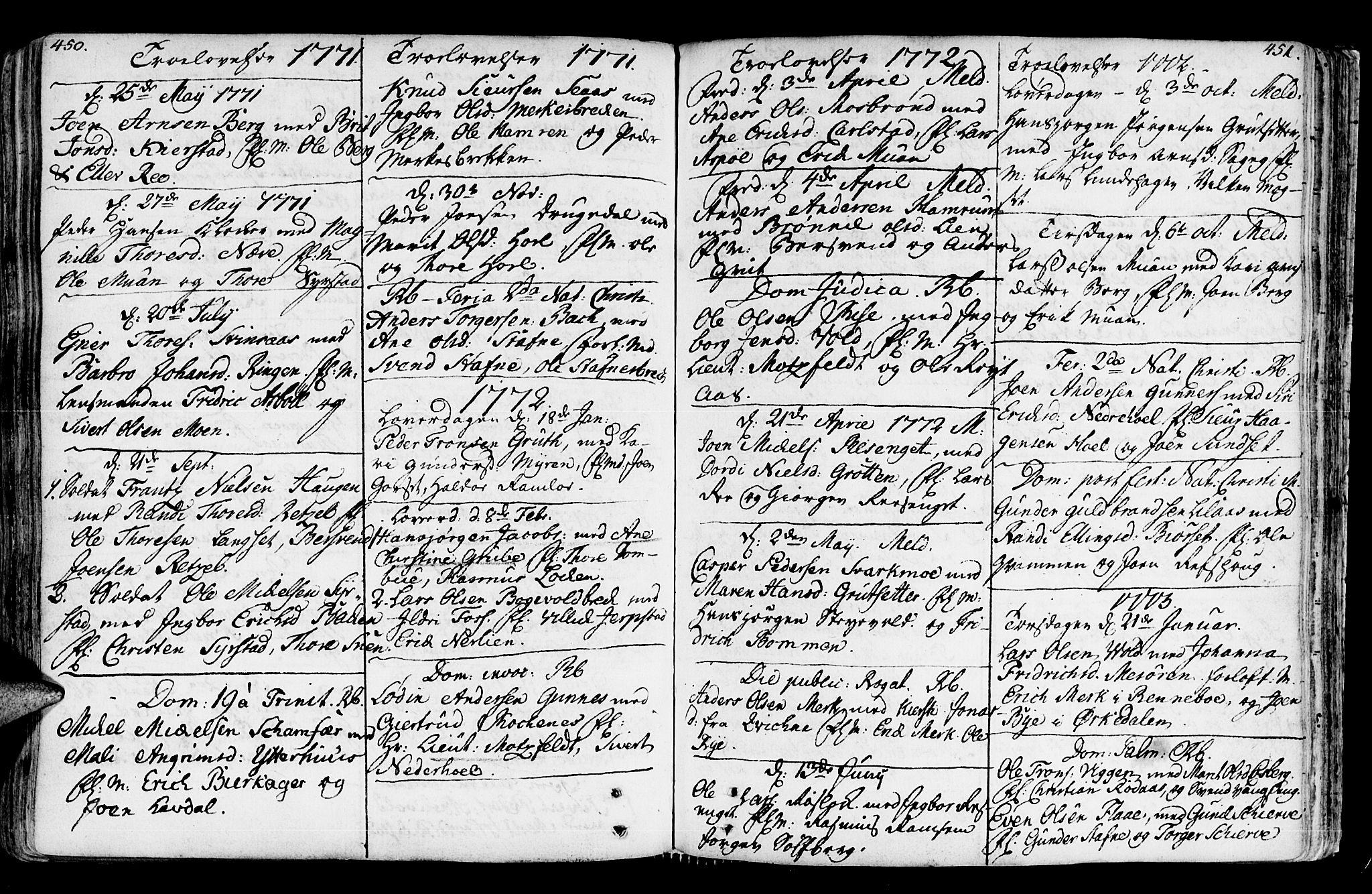 SAT, Ministerialprotokoller, klokkerbøker og fødselsregistre - Sør-Trøndelag, 672/L0851: Ministerialbok nr. 672A04, 1751-1775, s. 450-451