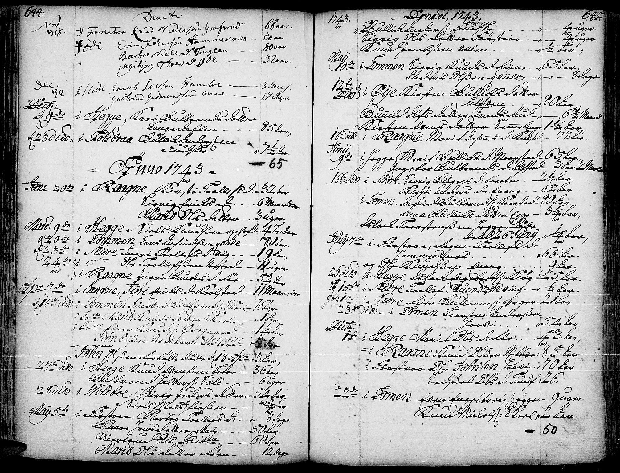 SAH, Slidre prestekontor, Ministerialbok nr. 1, 1724-1814, s. 644-645