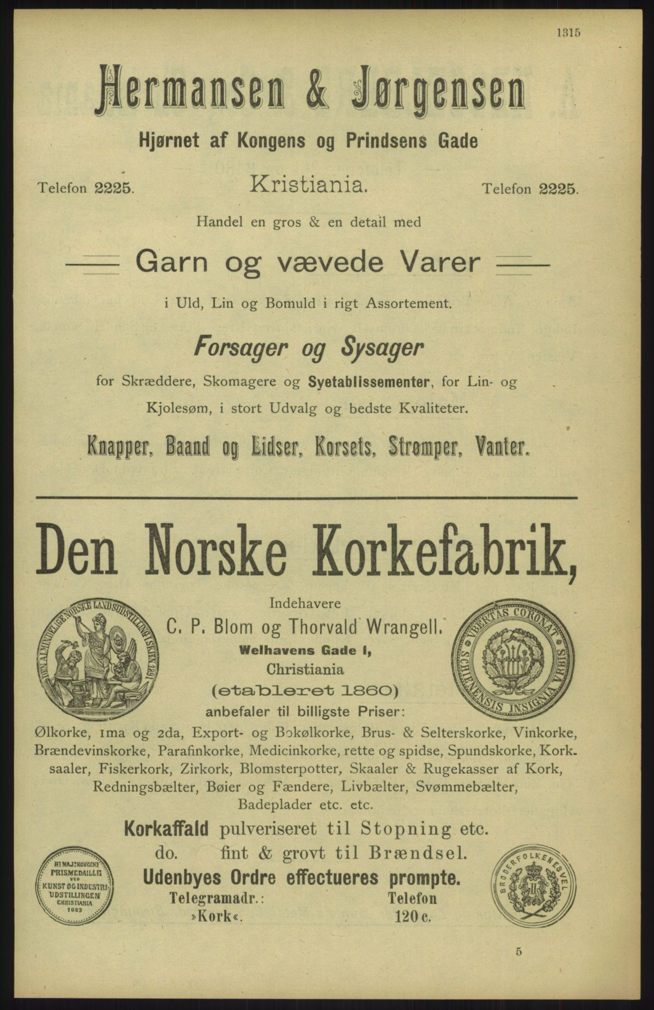 RA, Kristiania adressebok (publikasjon)*, 1904, s. 1315