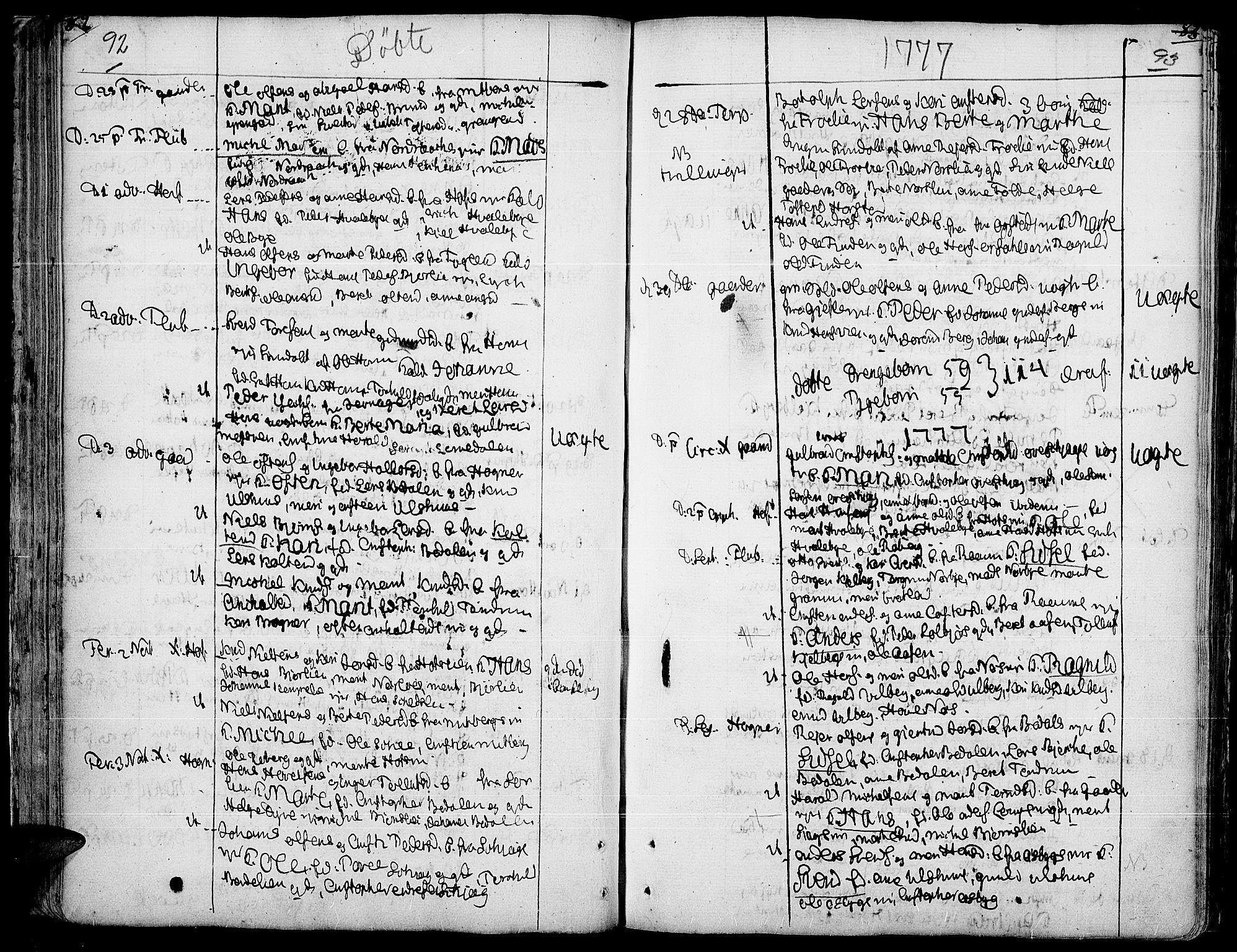 SAH, Land prestekontor, Ministerialbok nr. 5, 1765-1784, s. 92-93