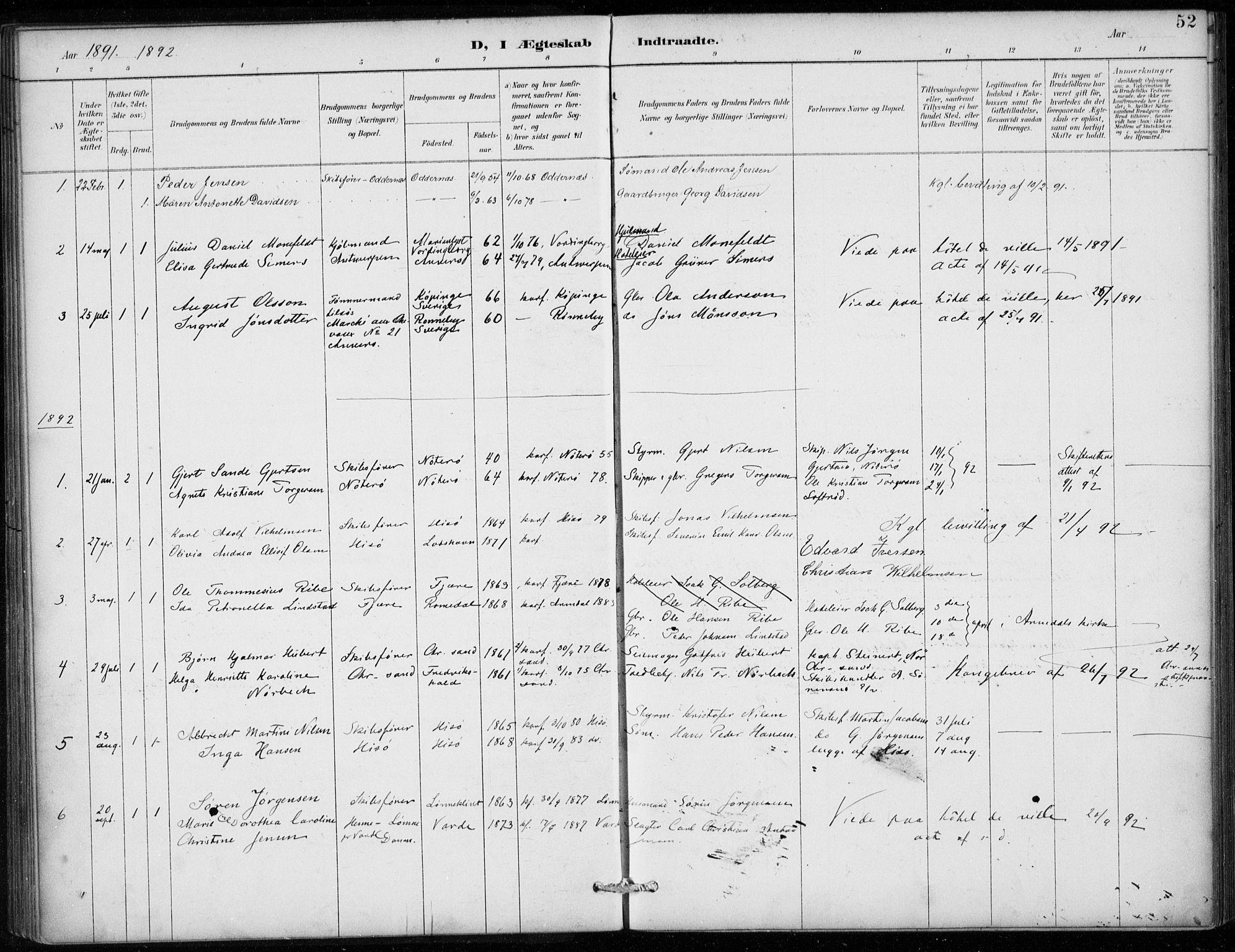 SAB, Den Norske Sjømannsmisjon i utlandet*, Ministerialbok nr. A 2, 1887-1913, s. 52