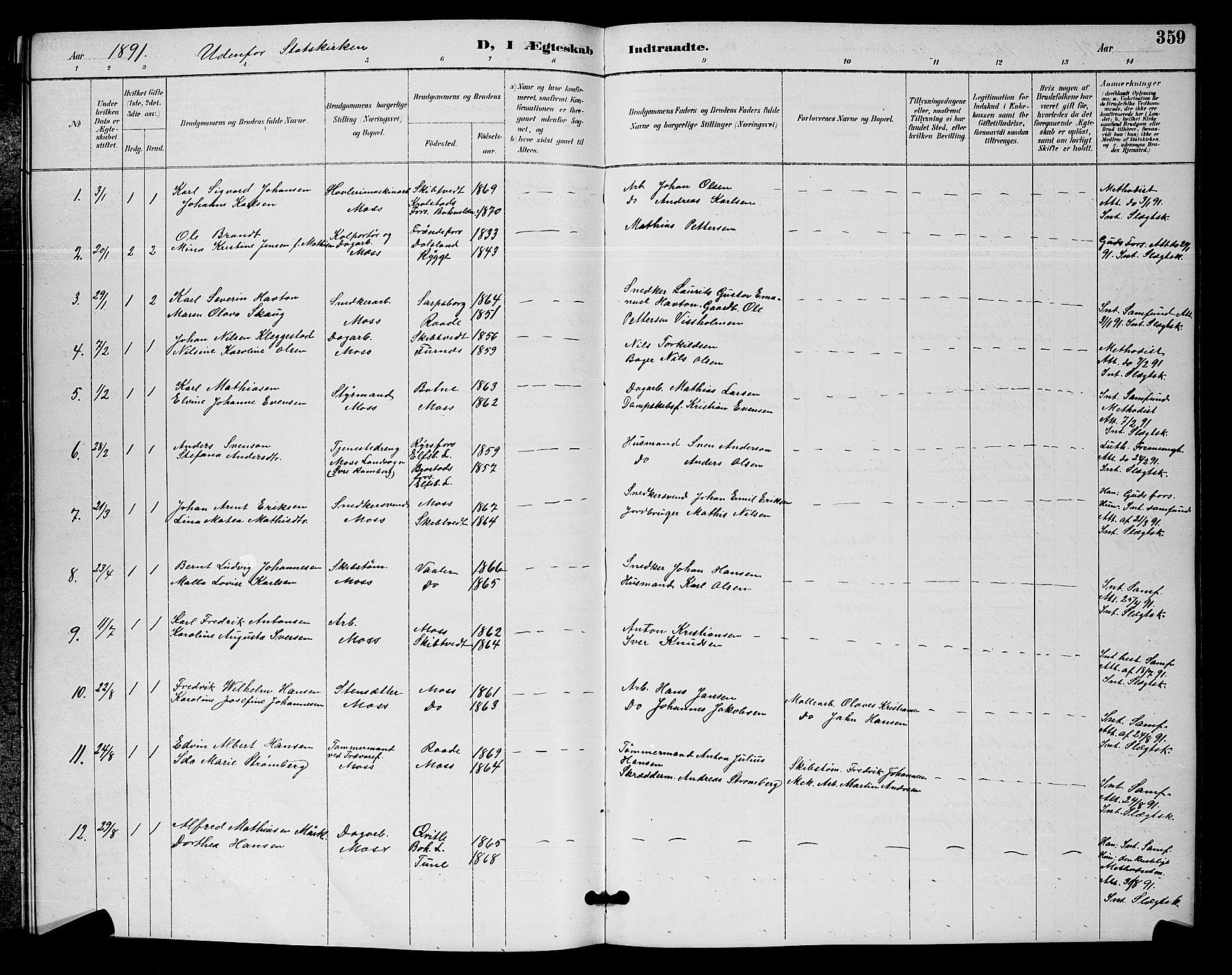 SAO, Moss prestekontor Kirkebøker, G/Ga/L0006: Klokkerbok nr. I 6, 1889-1900, s. 359