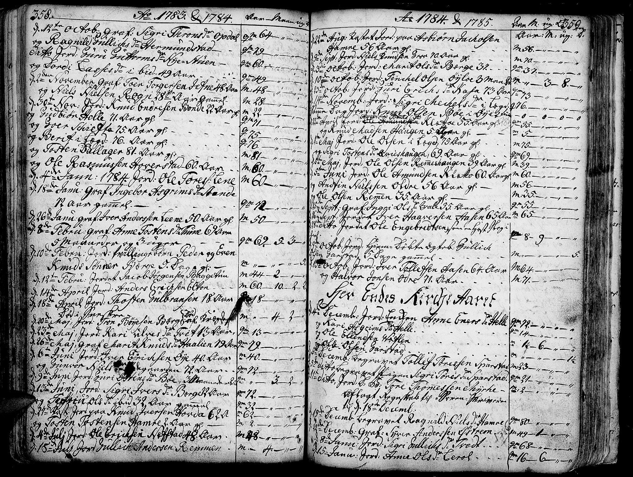 SAH, Vang prestekontor, Valdres, Ministerialbok nr. 1, 1730-1796, s. 358-359