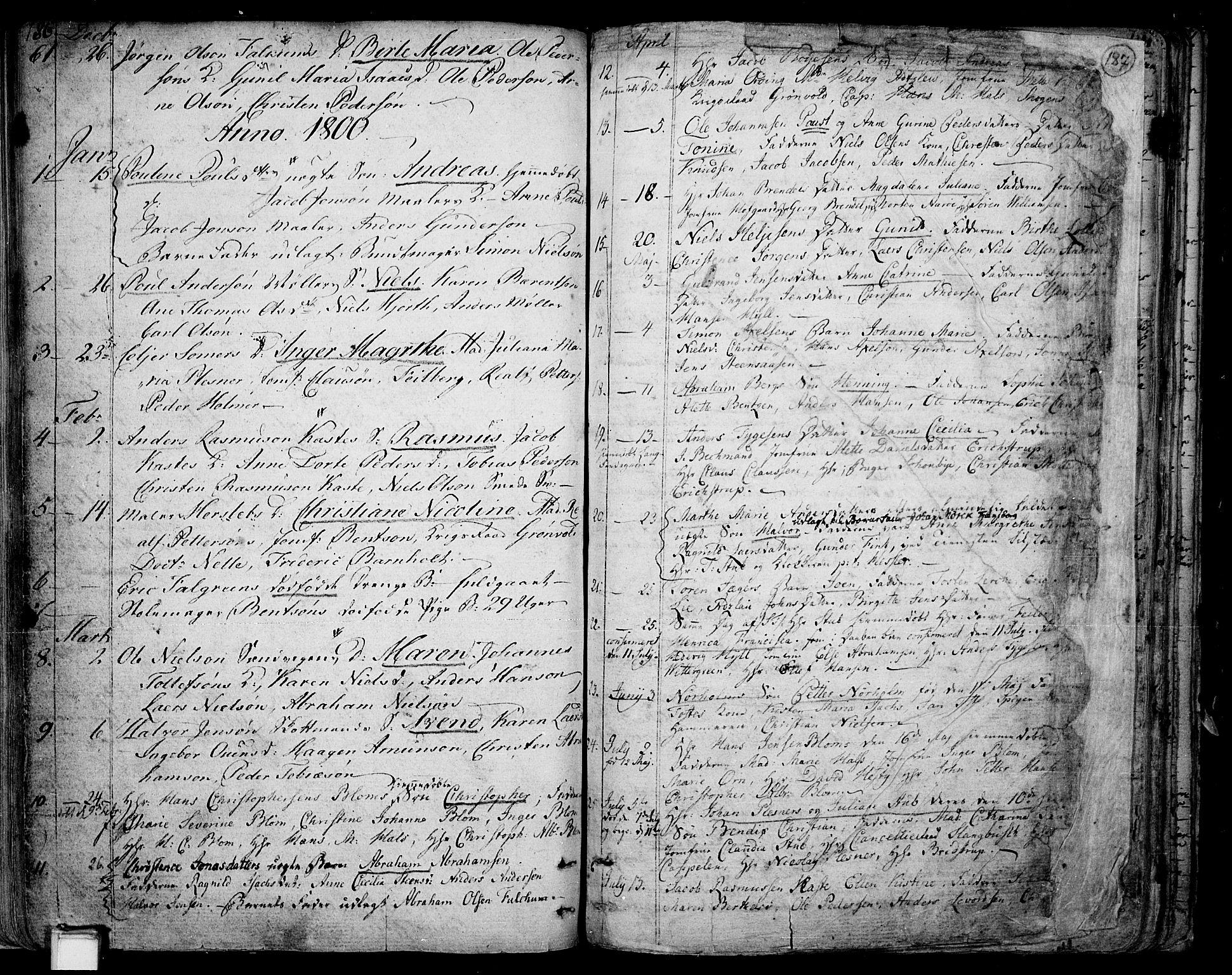 SAKO, Skien kirkebøker, F/Fa/L0004: Ministerialbok nr. 4, 1792-1814, s. 186-187