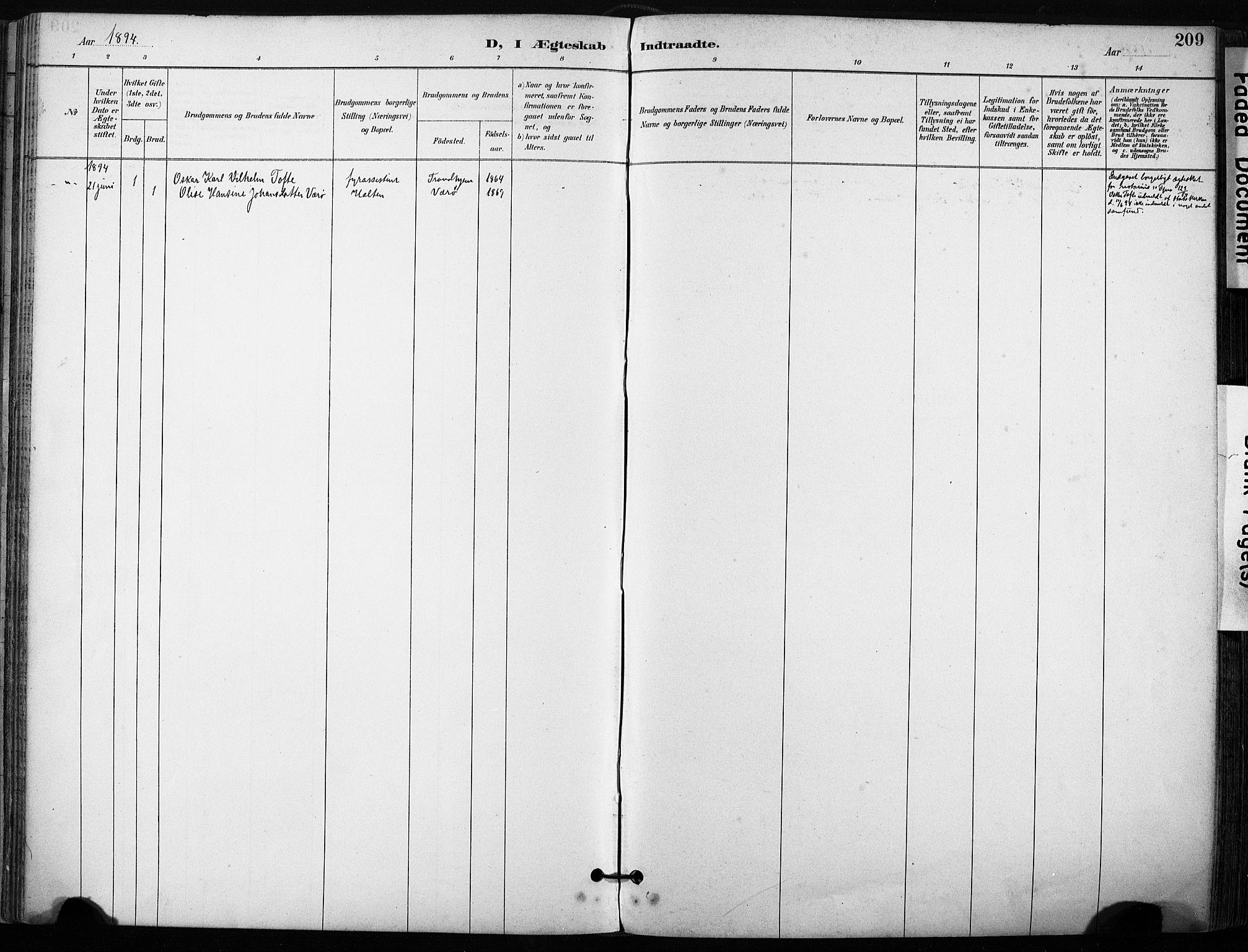 SAT, Ministerialprotokoller, klokkerbøker og fødselsregistre - Sør-Trøndelag, 640/L0579: Ministerialbok nr. 640A04, 1889-1902, s. 209