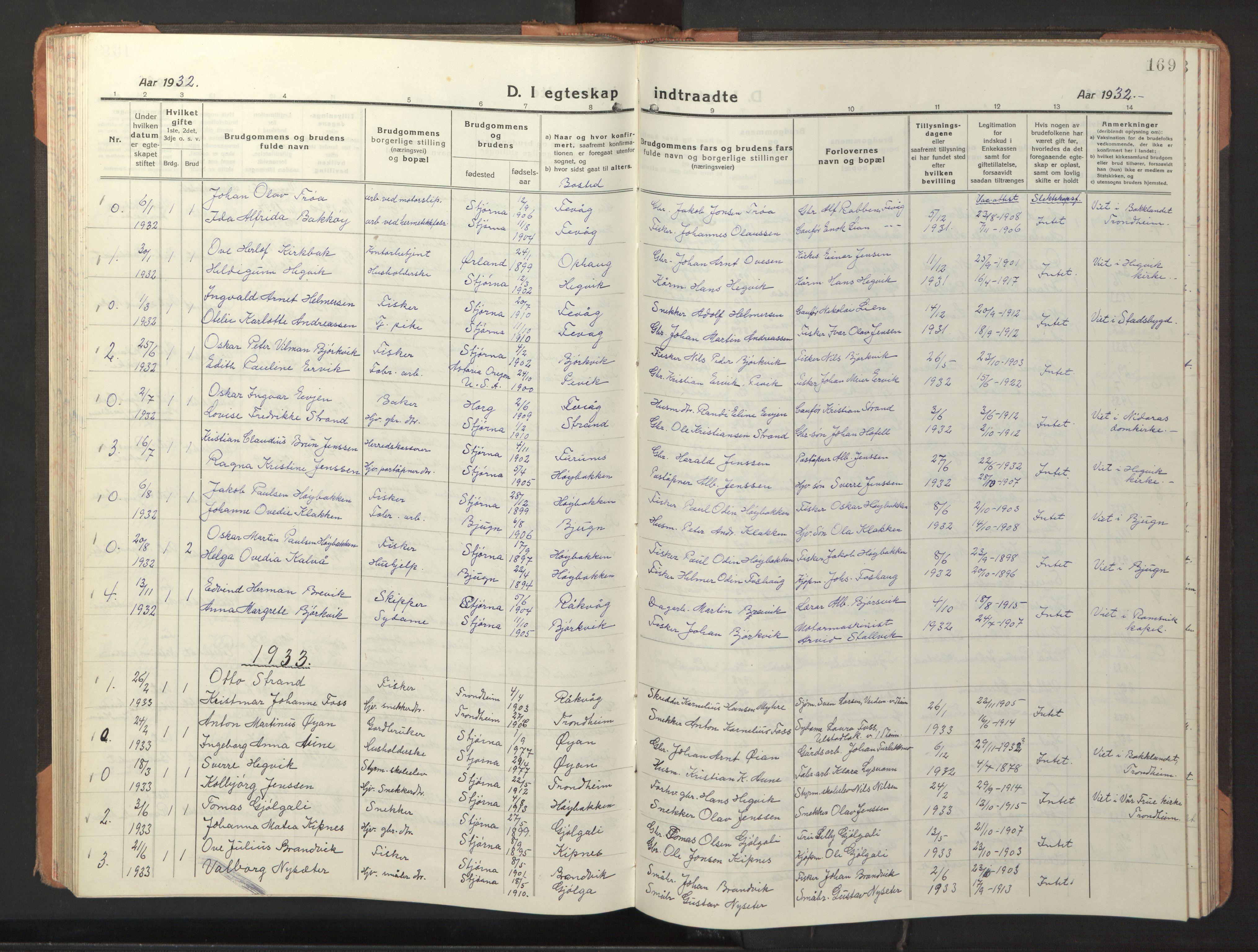 SAT, Ministerialprotokoller, klokkerbøker og fødselsregistre - Sør-Trøndelag, 653/L0658: Klokkerbok nr. 653C02, 1919-1947, s. 169