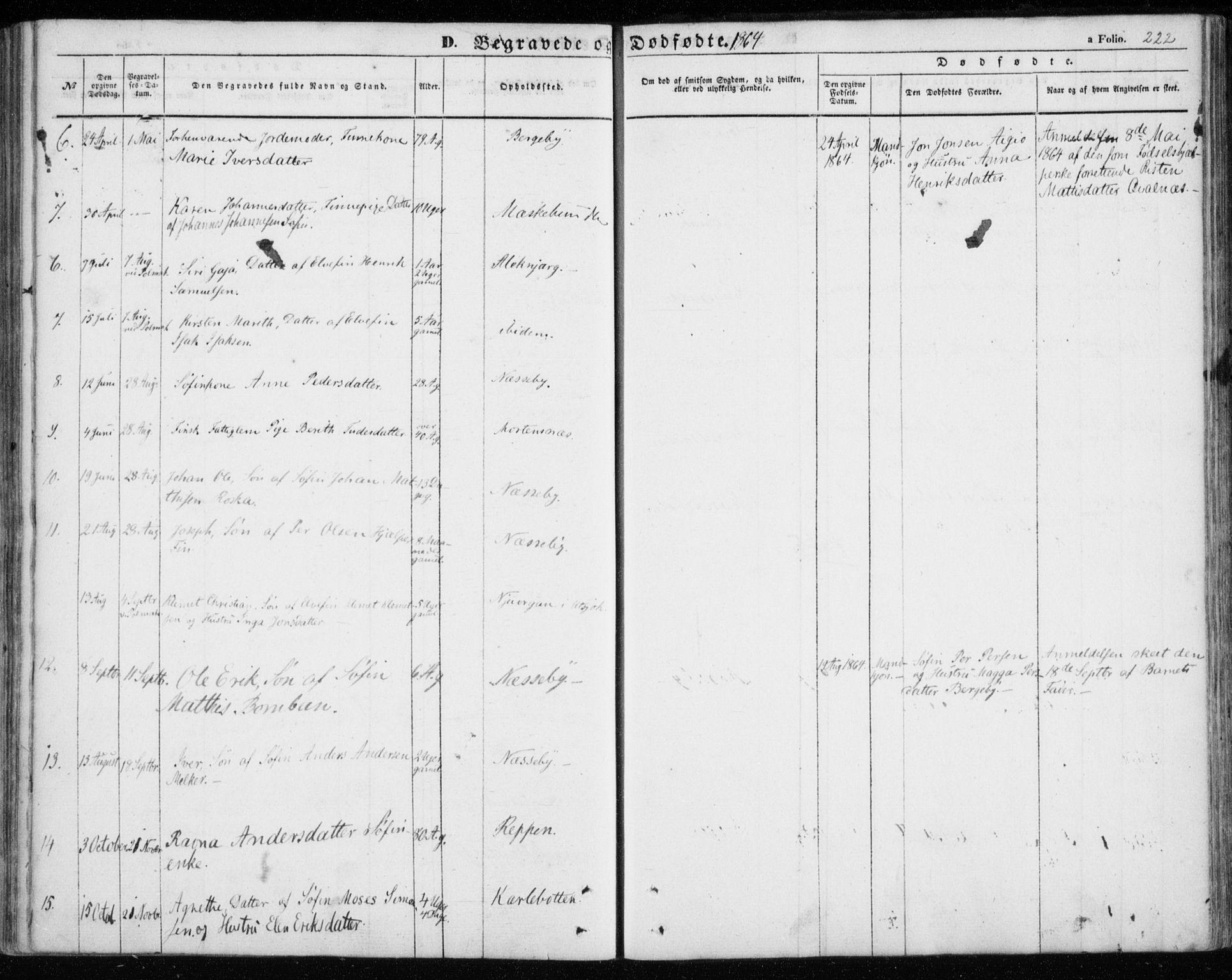 SATØ, Nesseby sokneprestkontor, H/Ha/L0002kirke: Ministerialbok nr. 2, 1856-1864, s. 222