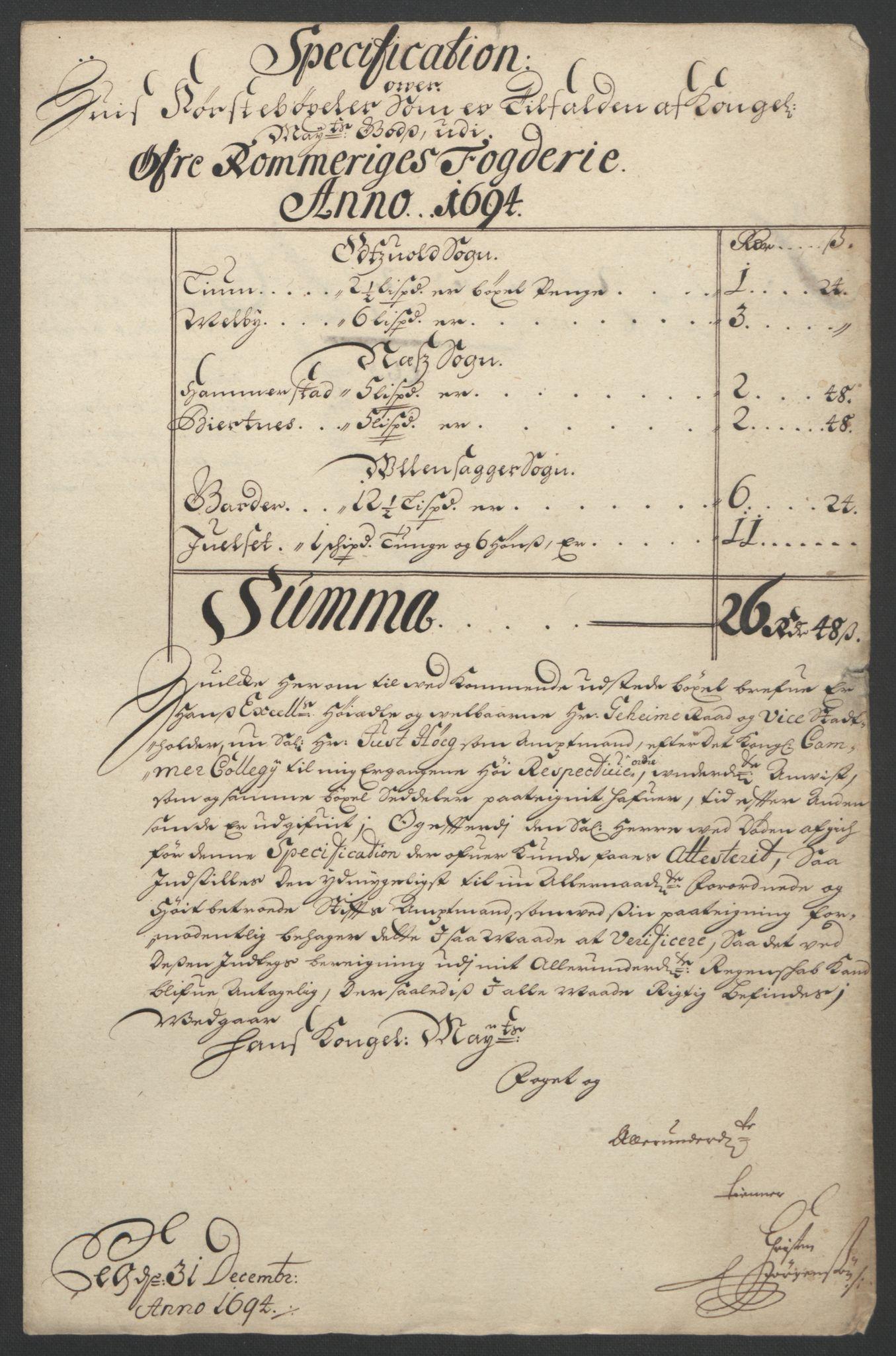 RA, Rentekammeret inntil 1814, Reviderte regnskaper, Fogderegnskap, R12/L0706: Fogderegnskap Øvre Romerike, 1694, s. 19