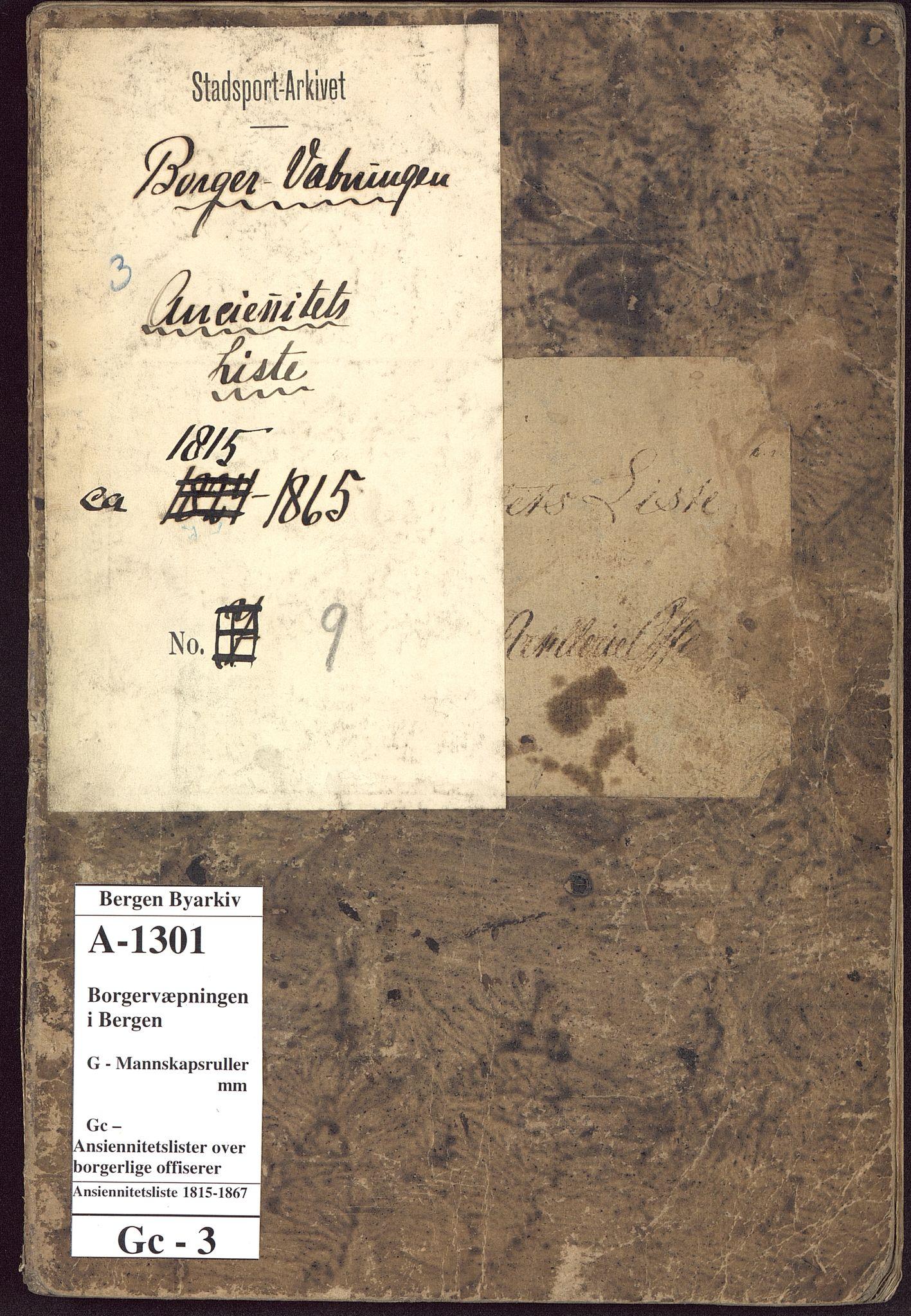 BBA, Borgervæpningen i Bergen, G/Gc/L0003: Ansiennitetsliste , 1815-1867