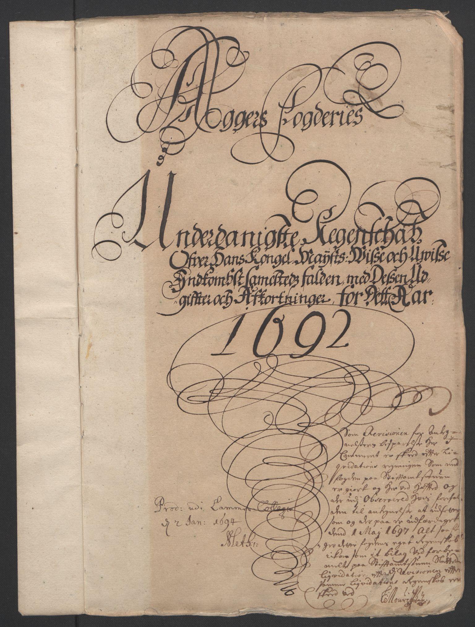 RA, Rentekammeret inntil 1814, Reviderte regnskaper, Fogderegnskap, R08/L0426: Fogderegnskap Aker, 1692-1693, s. 3