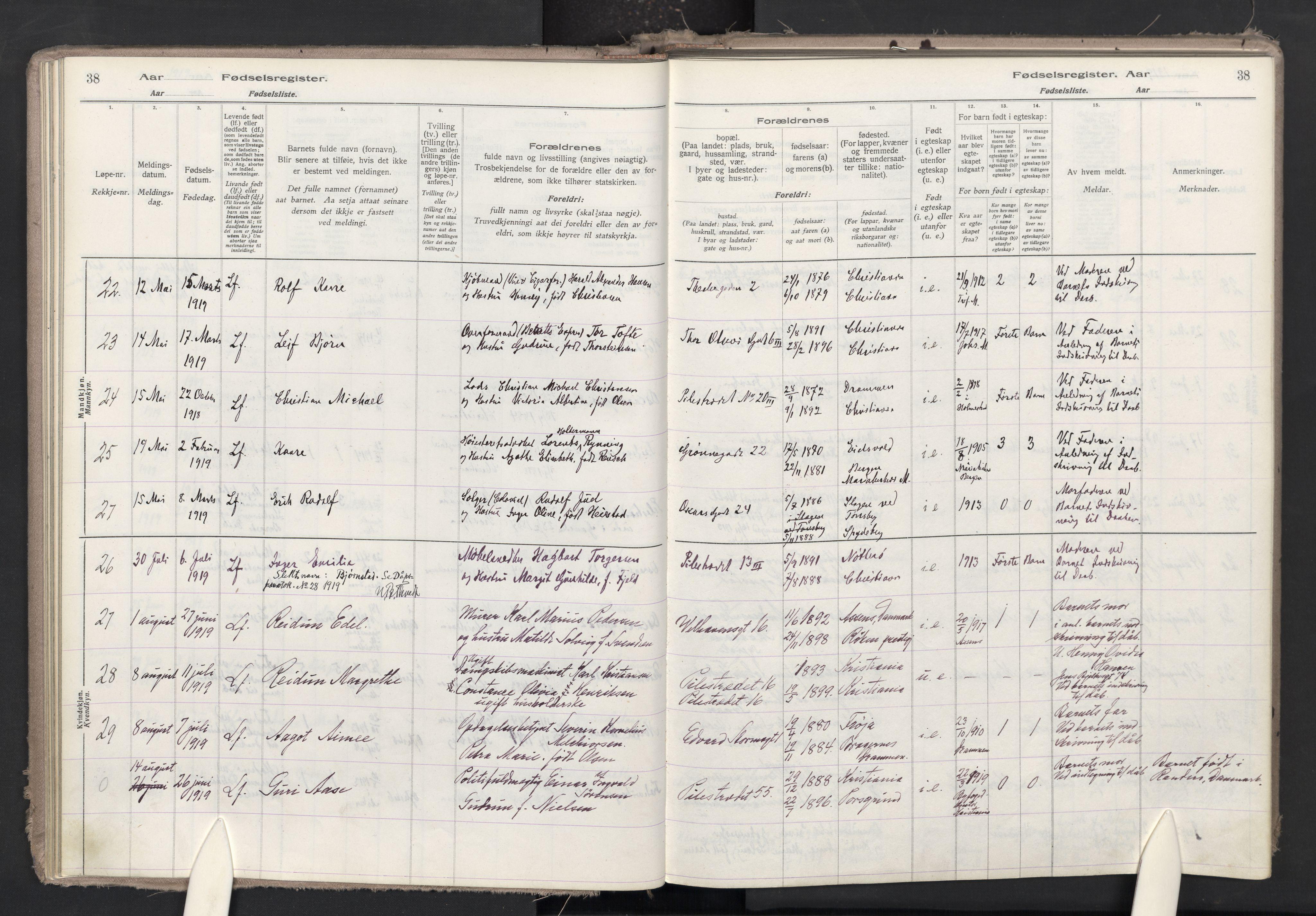 SAO, Trefoldighet prestekontor Kirkebøker, J/Ja/L0001: Fødselsregister nr. 1, 1916-1931, s. 38